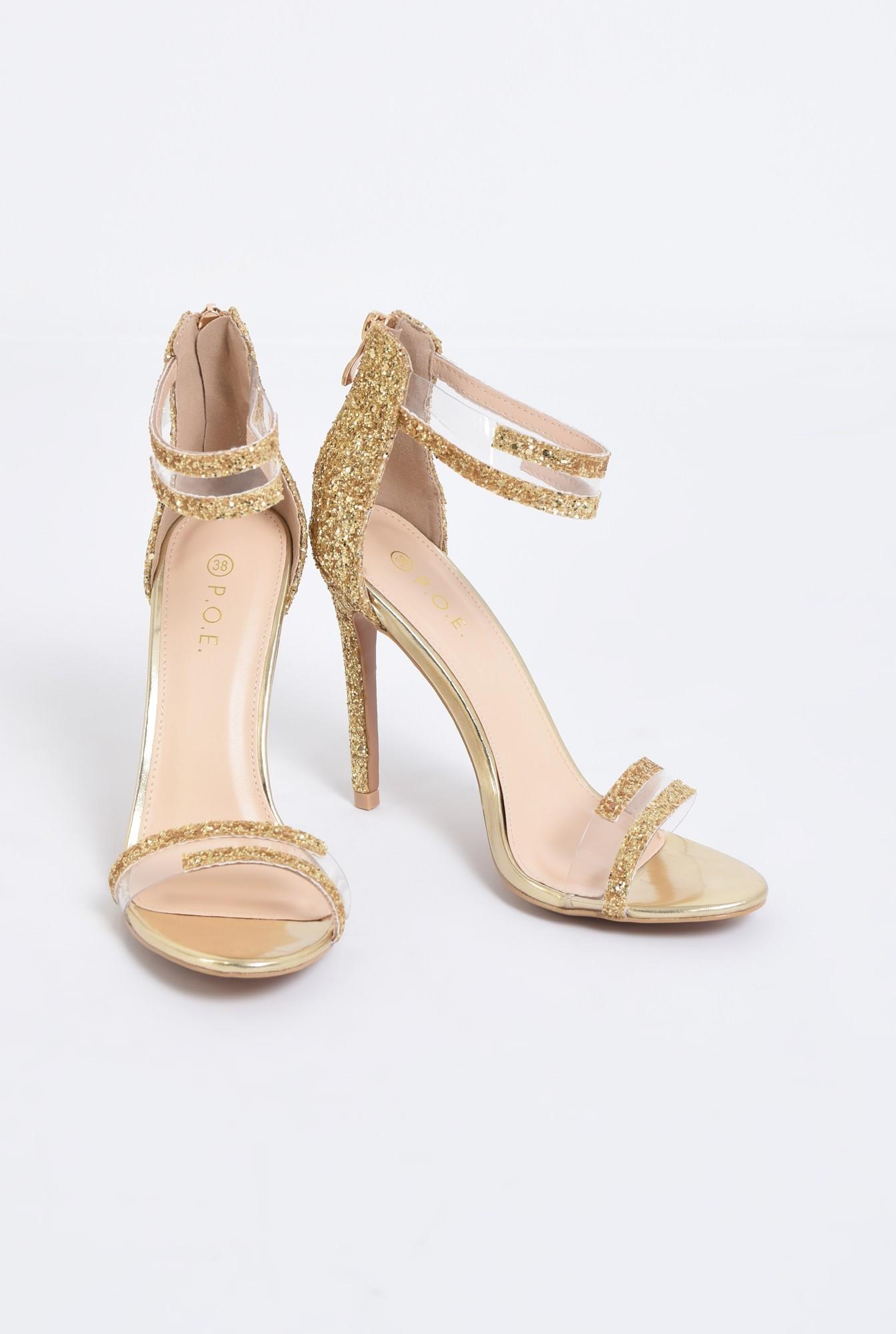 3 - sandale elegante, aurii, cu glitter, toc inalt