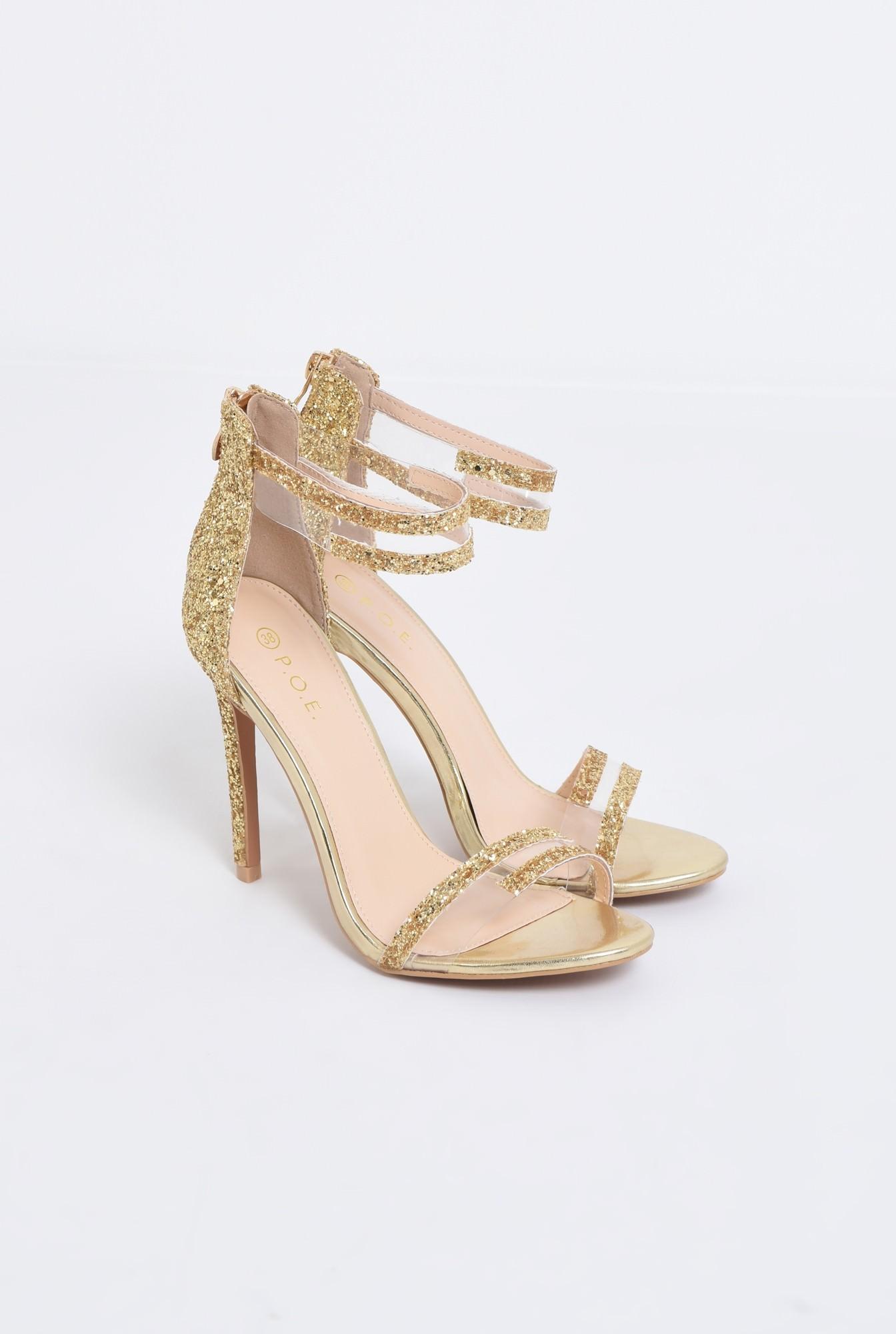 1 - sandale elegante, aurii, cu glitter, toc inalt