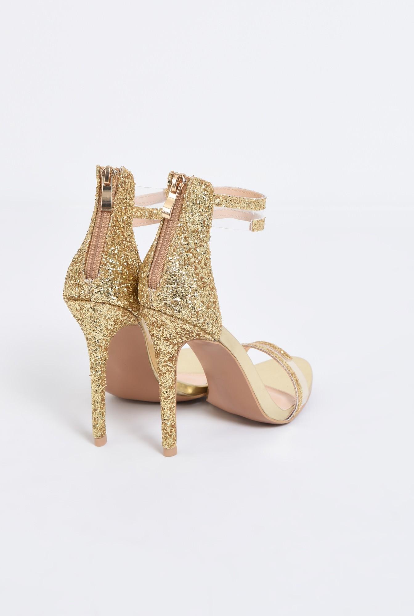 2 - sandale elegante, aurii, cu glitter, toc inalt