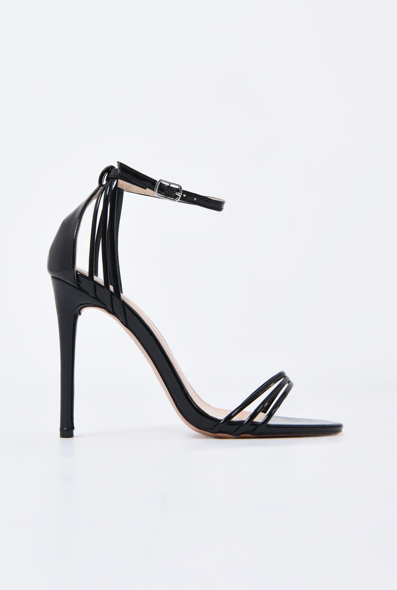 0 - sandale elegante, din lac, negre, toc stiletto