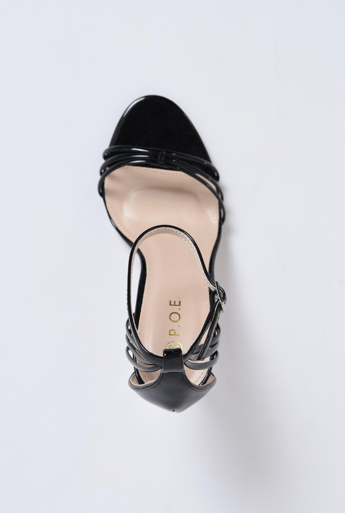 2 - sandale elegante, din lac, negre, toc stiletto