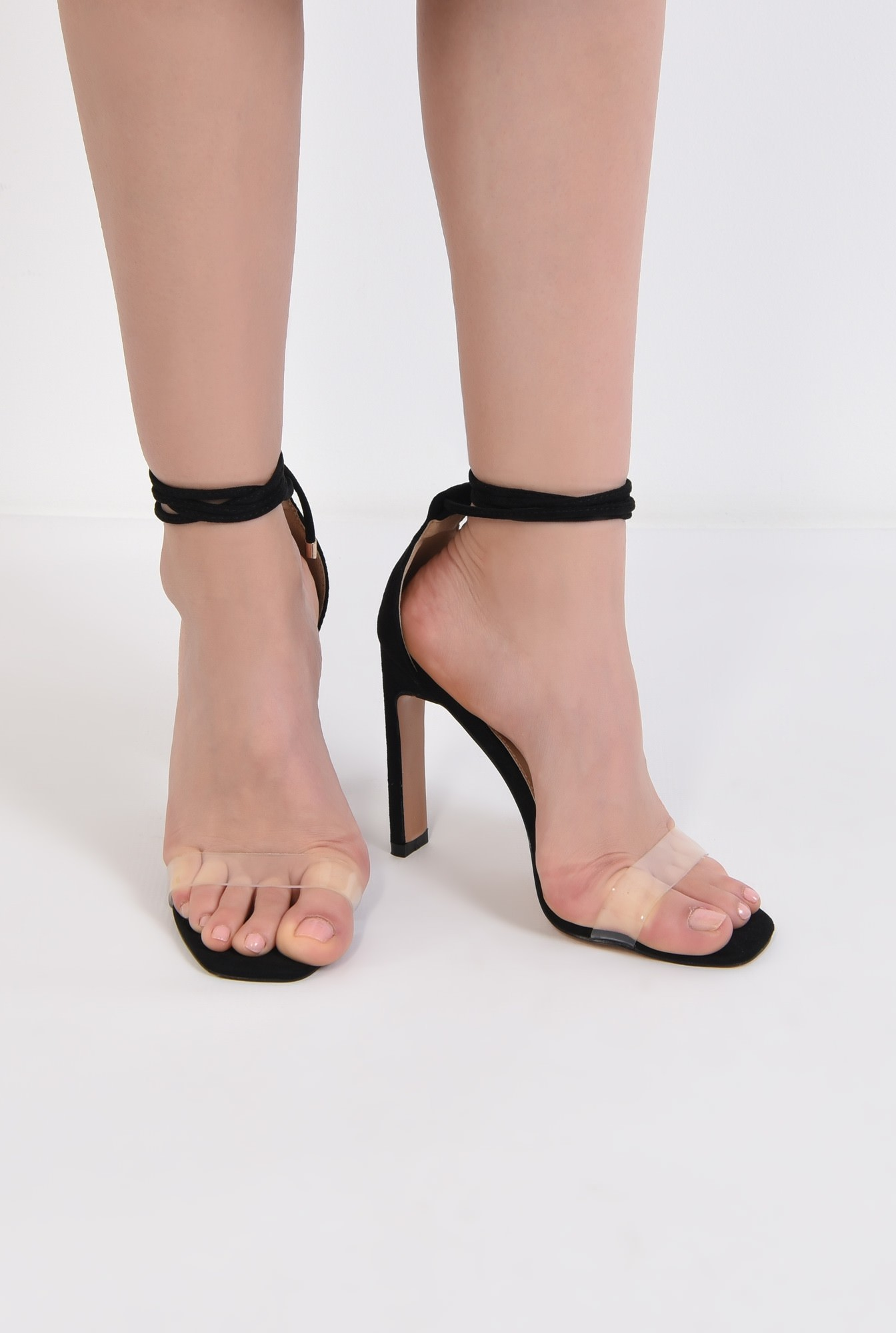 1 - sandale de ocazie, din velur, bareta transparenta, toc bricheta