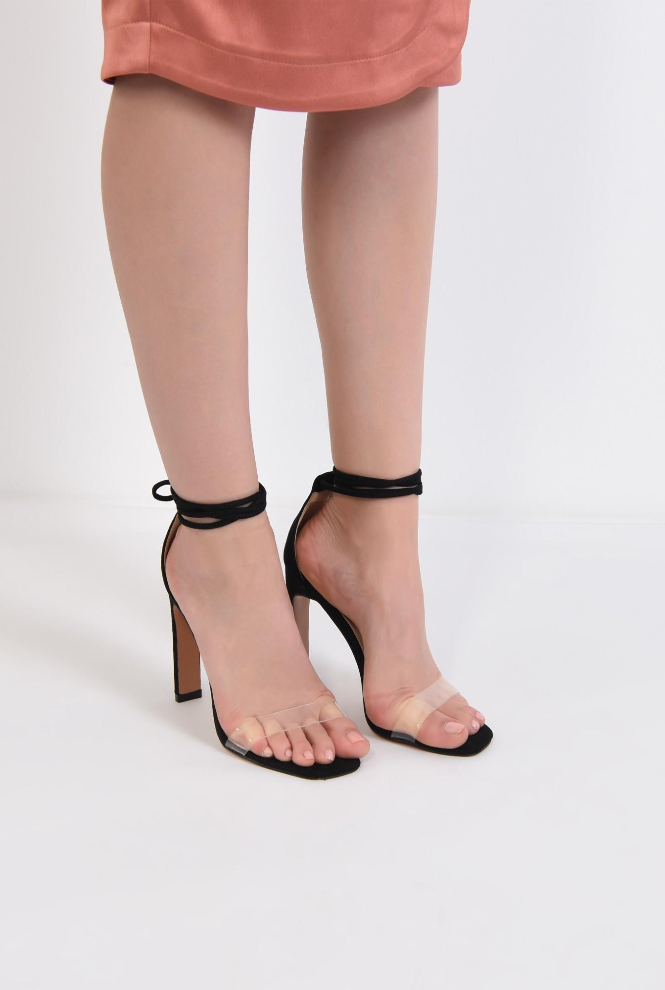 4 - sandale de ocazie, din velur, bareta transparenta, toc bricheta