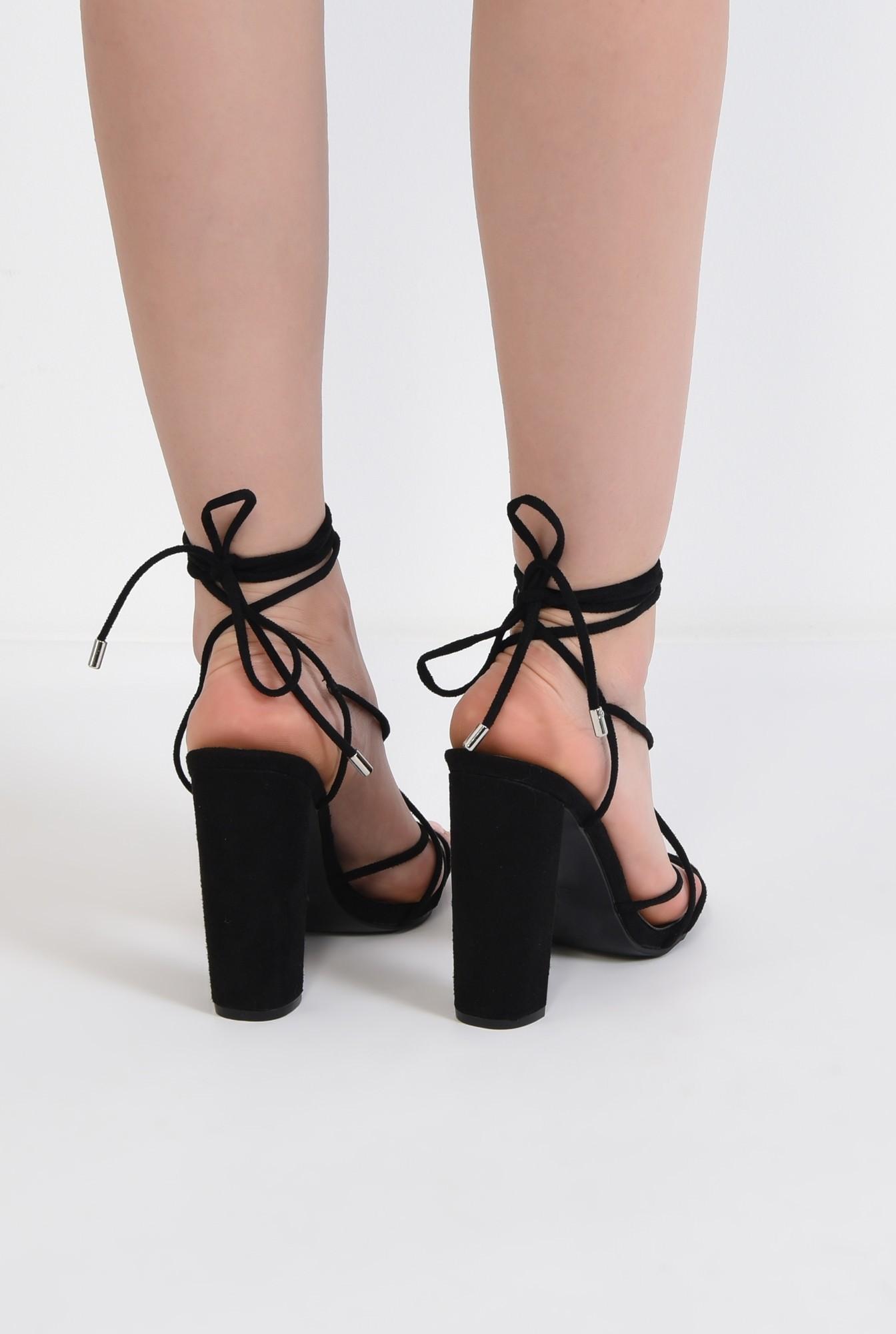 2 - sandale elegante, negre, cu toc gros, barete tip snur