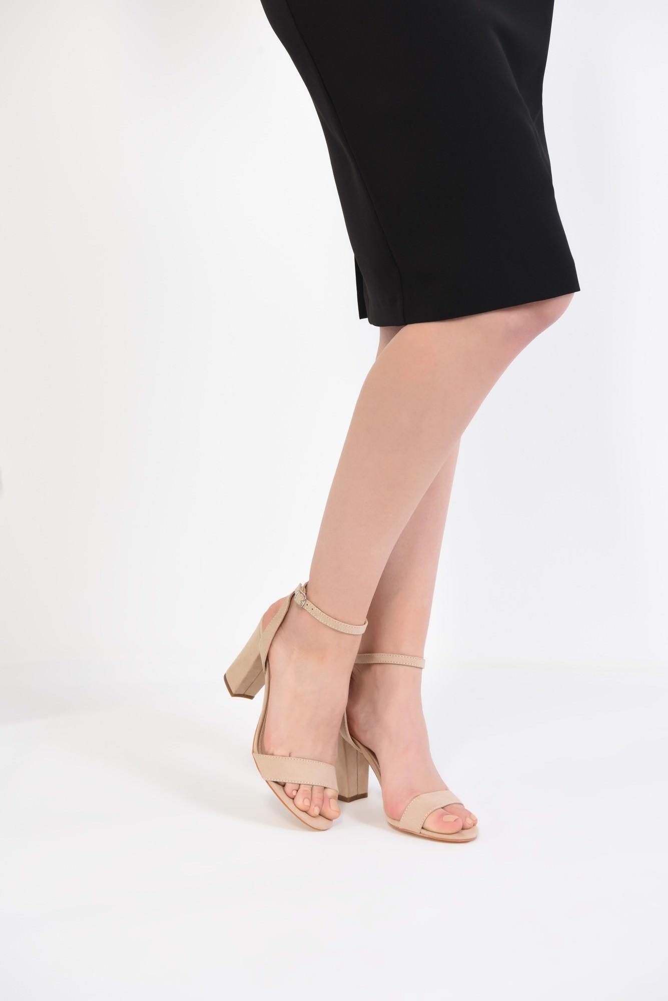 4 - sandale elegante, crem, toc gros, piele intoarsa eco