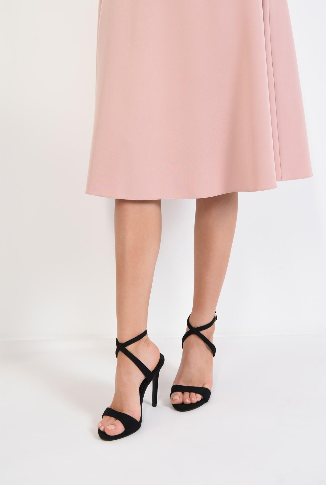 4 - sandale elegante, velur, negru, toc cui