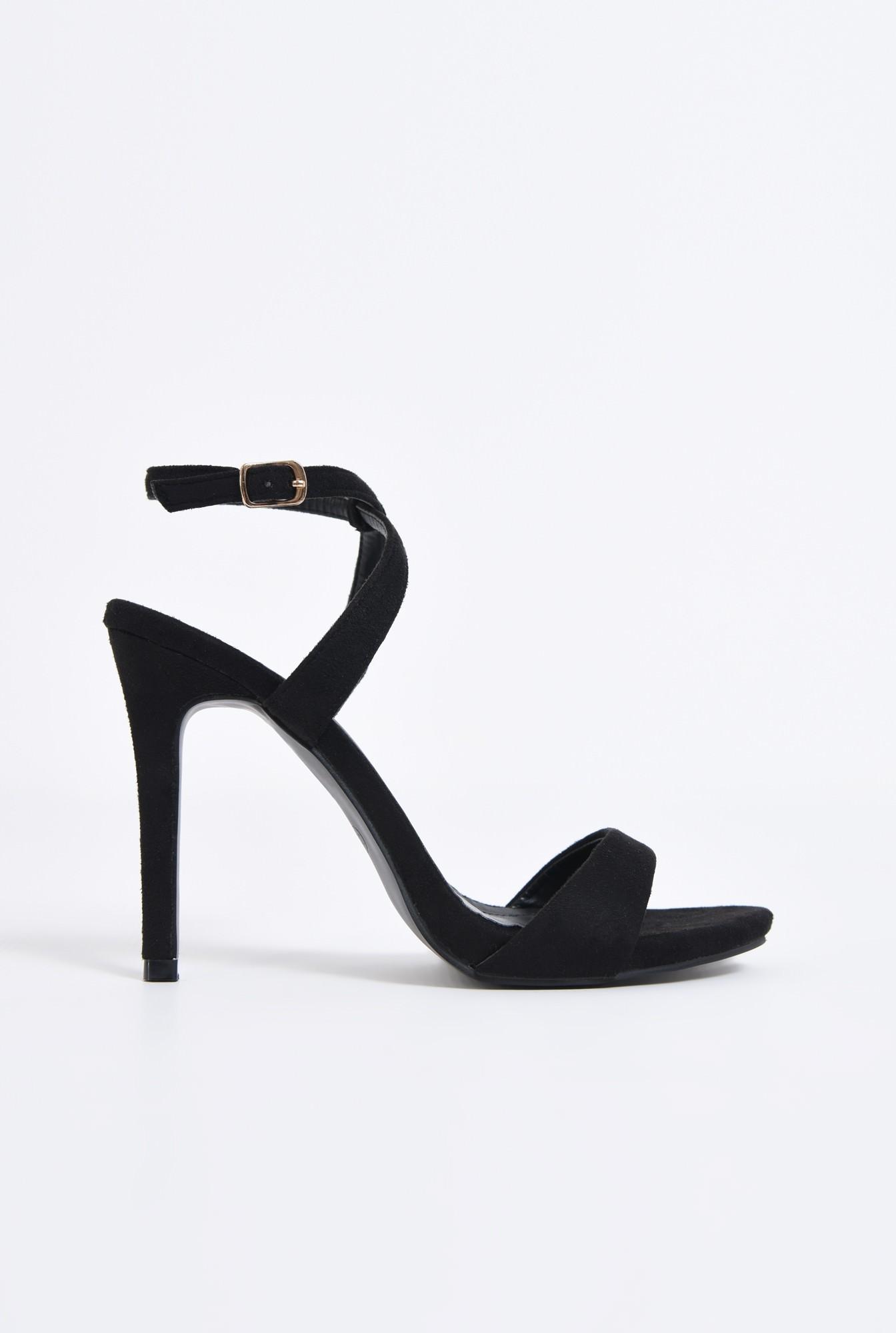 0 - sandale elegante, velur, negru, toc cui