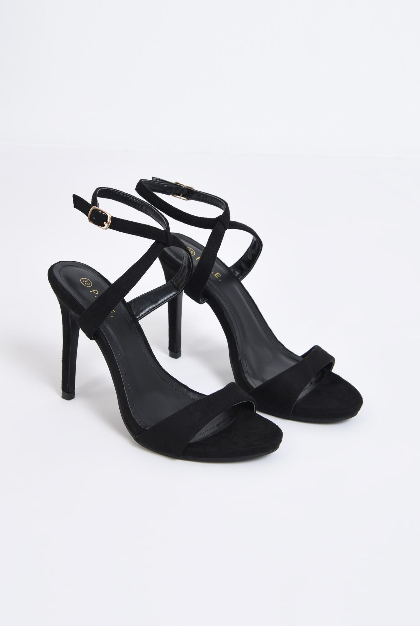 1 - sandale elegante, velur, negru, toc cui