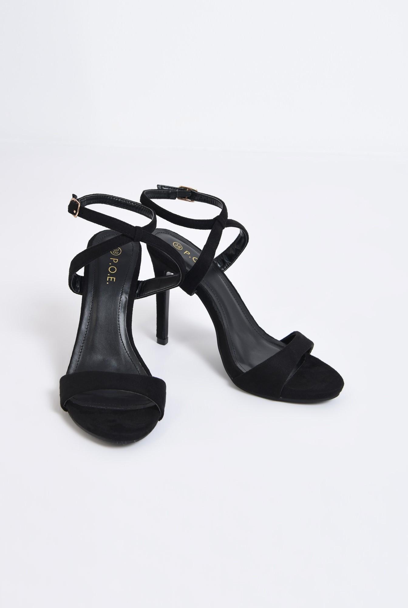 3 - sandale elegante, velur, negru, toc cui
