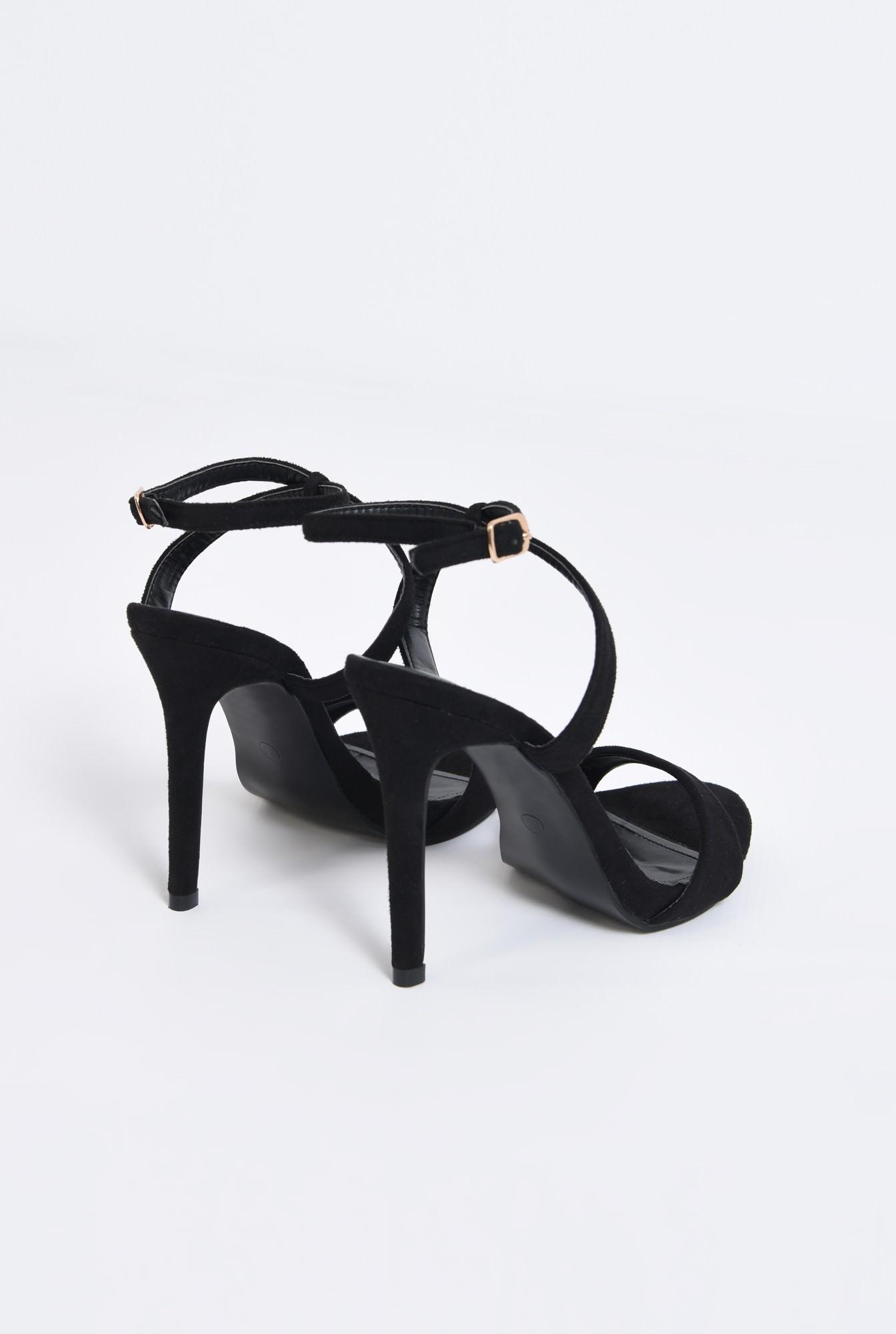 2 - sandale elegante, velur, negru, toc cui