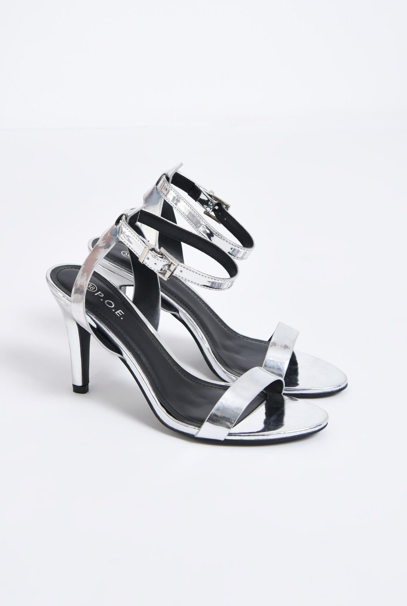 1 - sandale metalice, toc subtire, bareta peste picior
