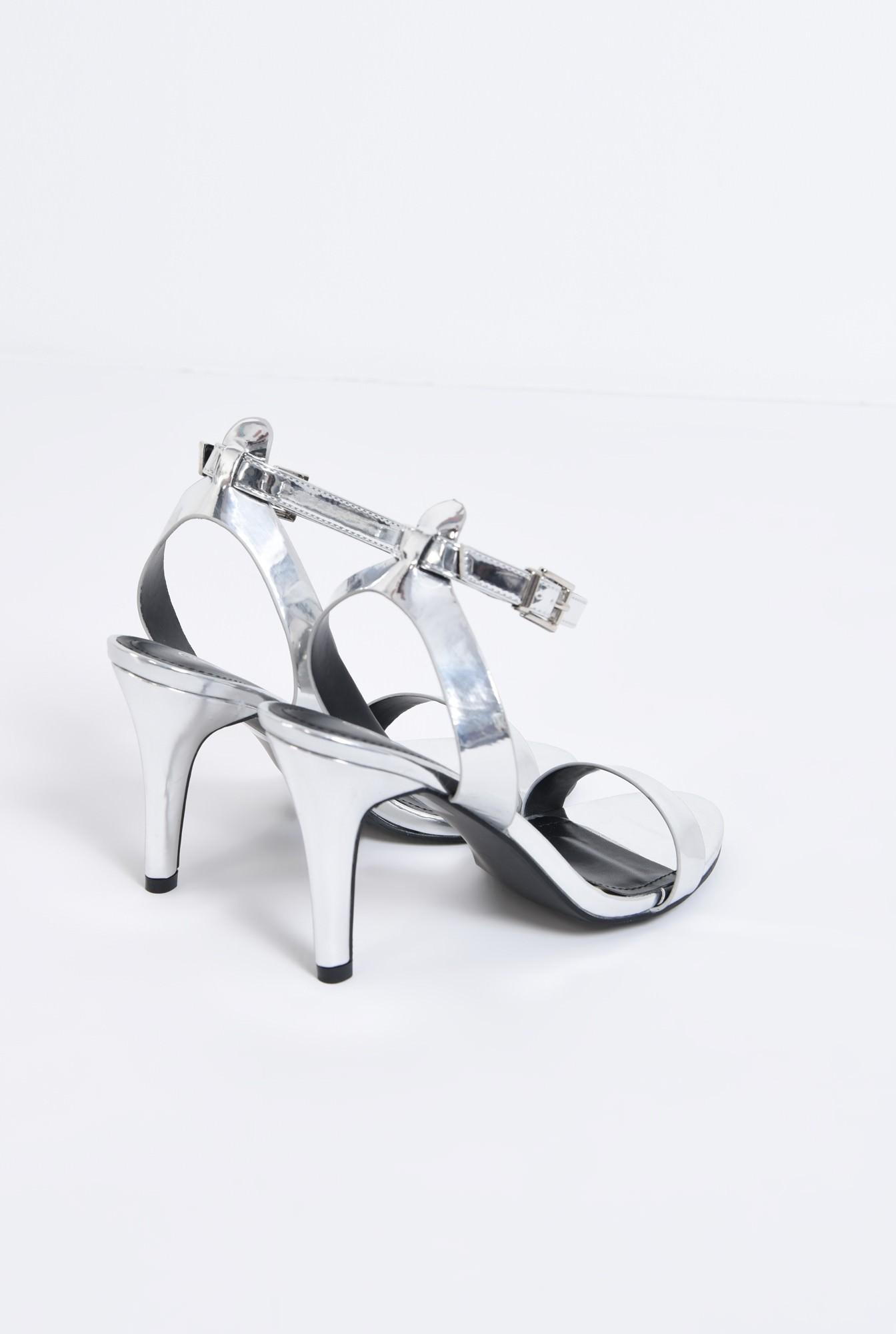 2 - sandale metalice, toc subtire, bareta peste picior