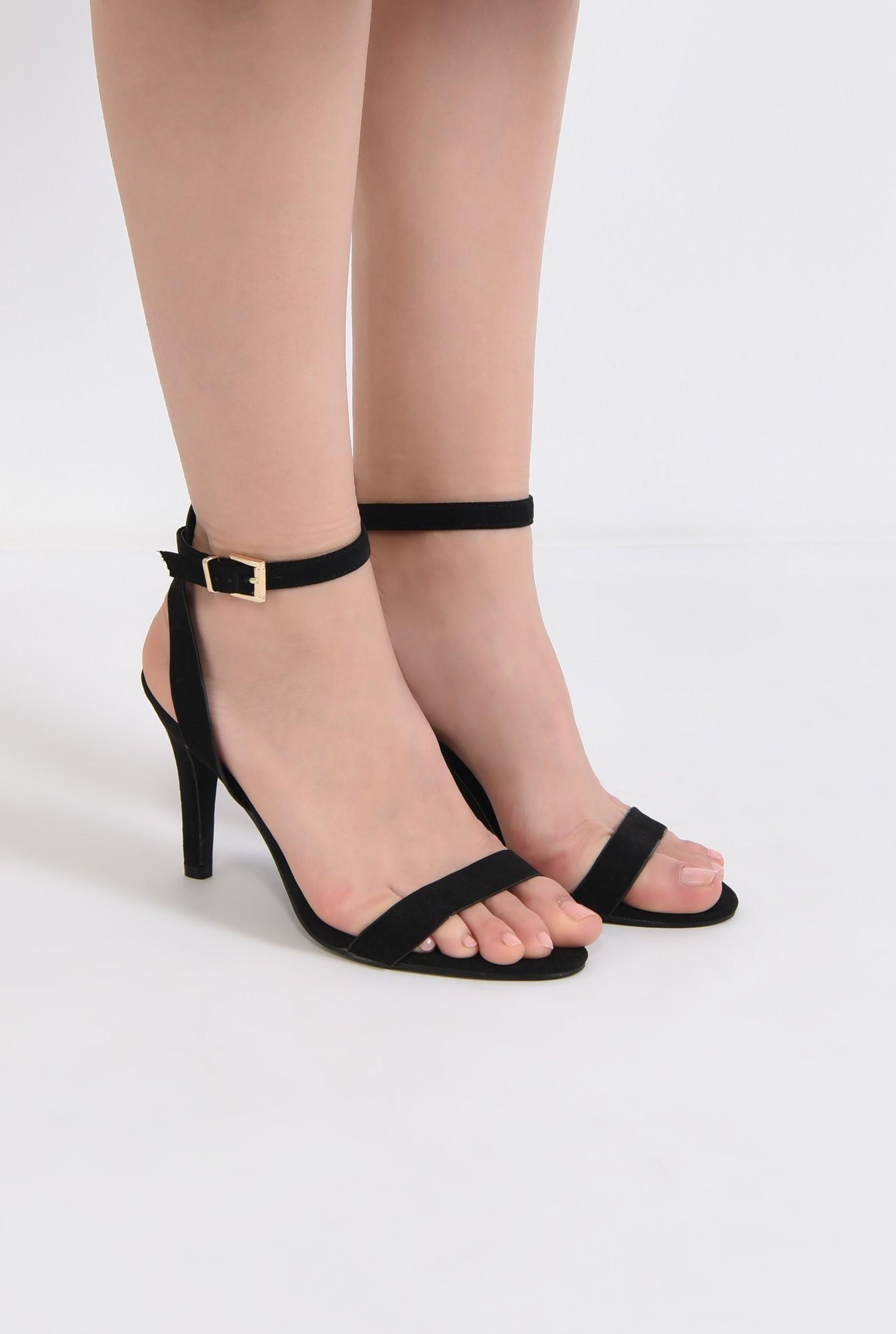 1 - sandale casual, toc subtire, bareta la glezna, negru