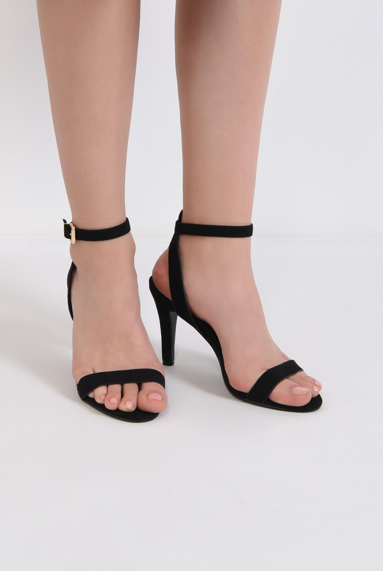 3 - sandale casual, toc subtire, bareta la glezna, negru