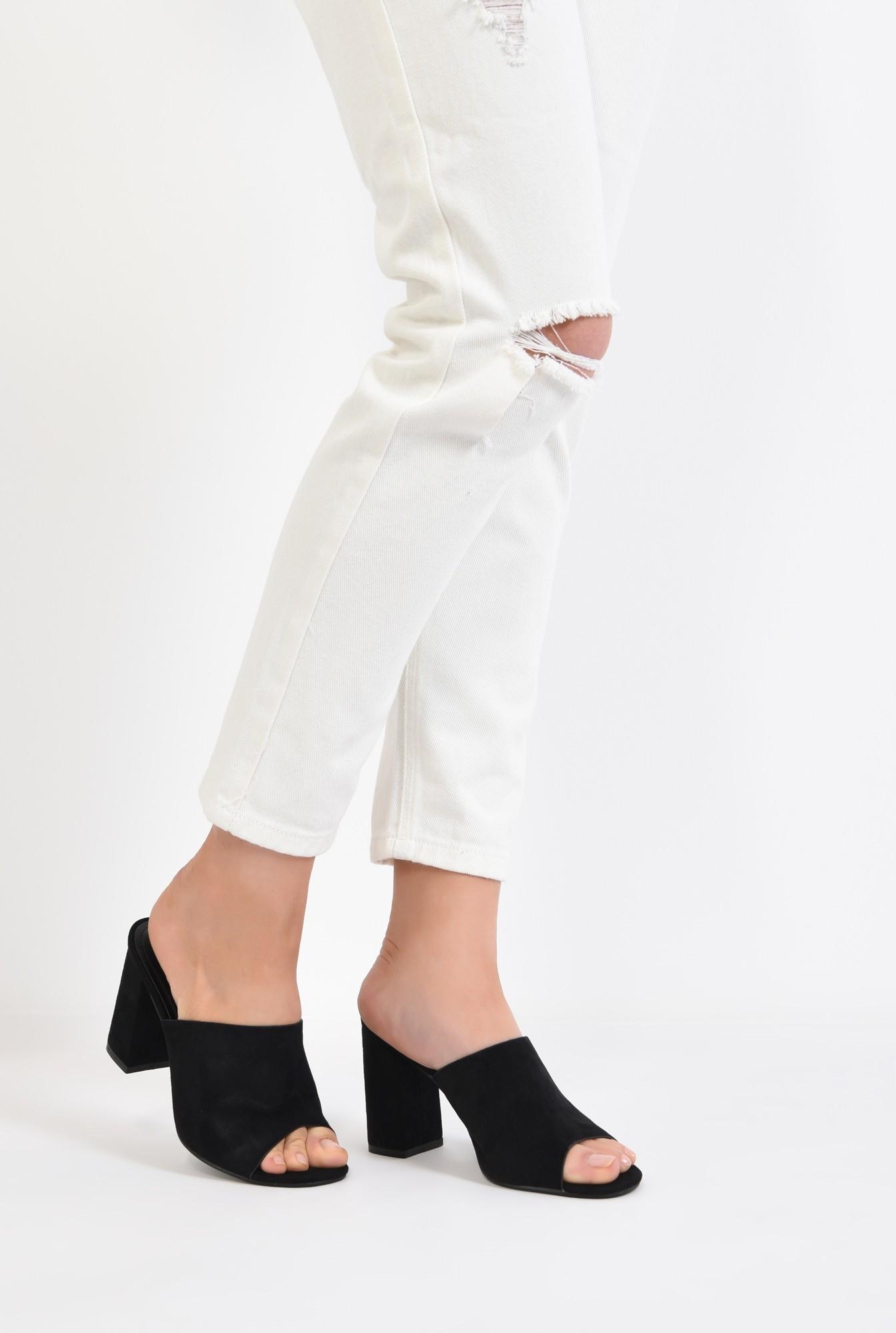 4 - saboti, negru, toc gros, varf decupat, sandale online