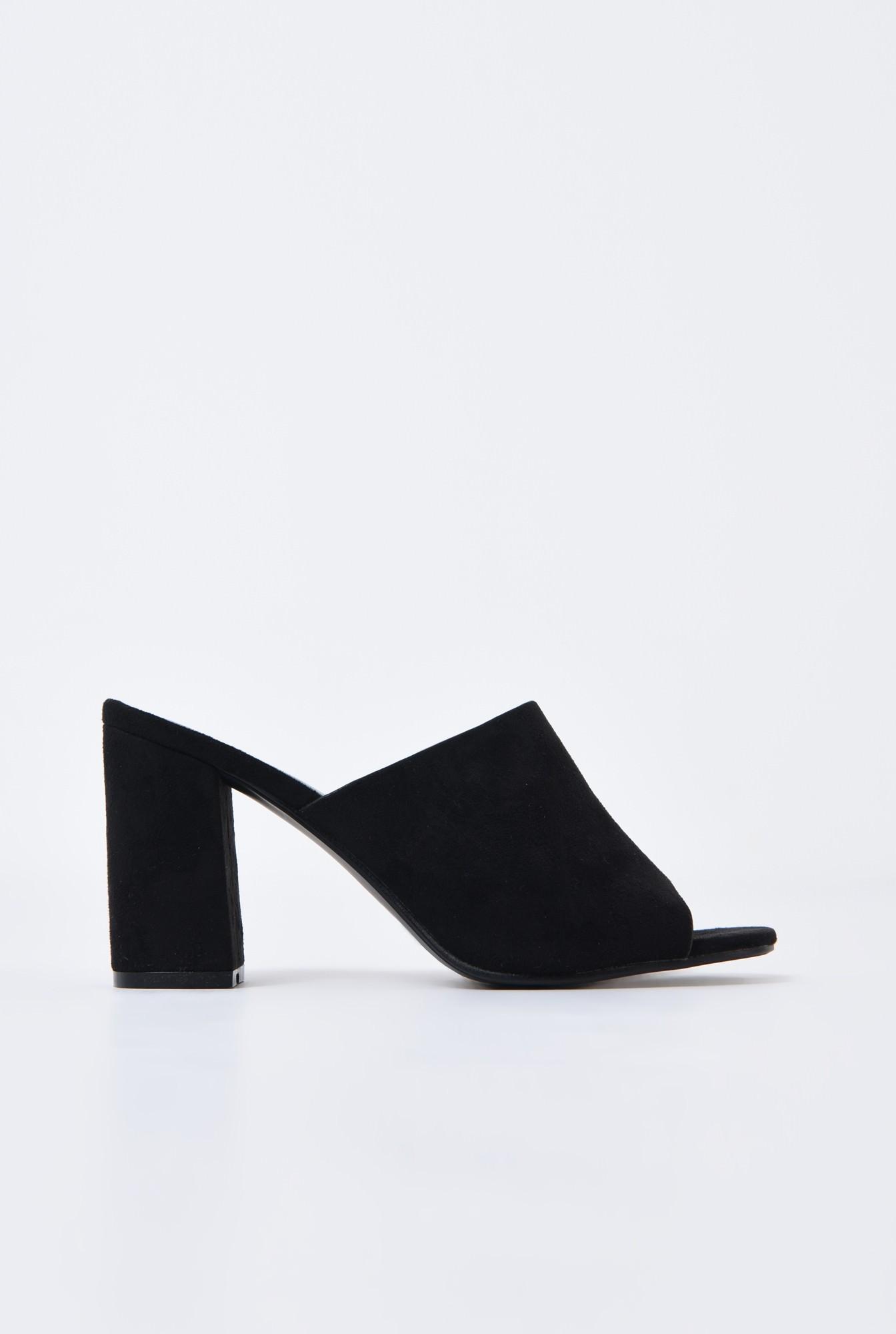 0 - saboti, negru, toc gros, varf decupat, sandale online