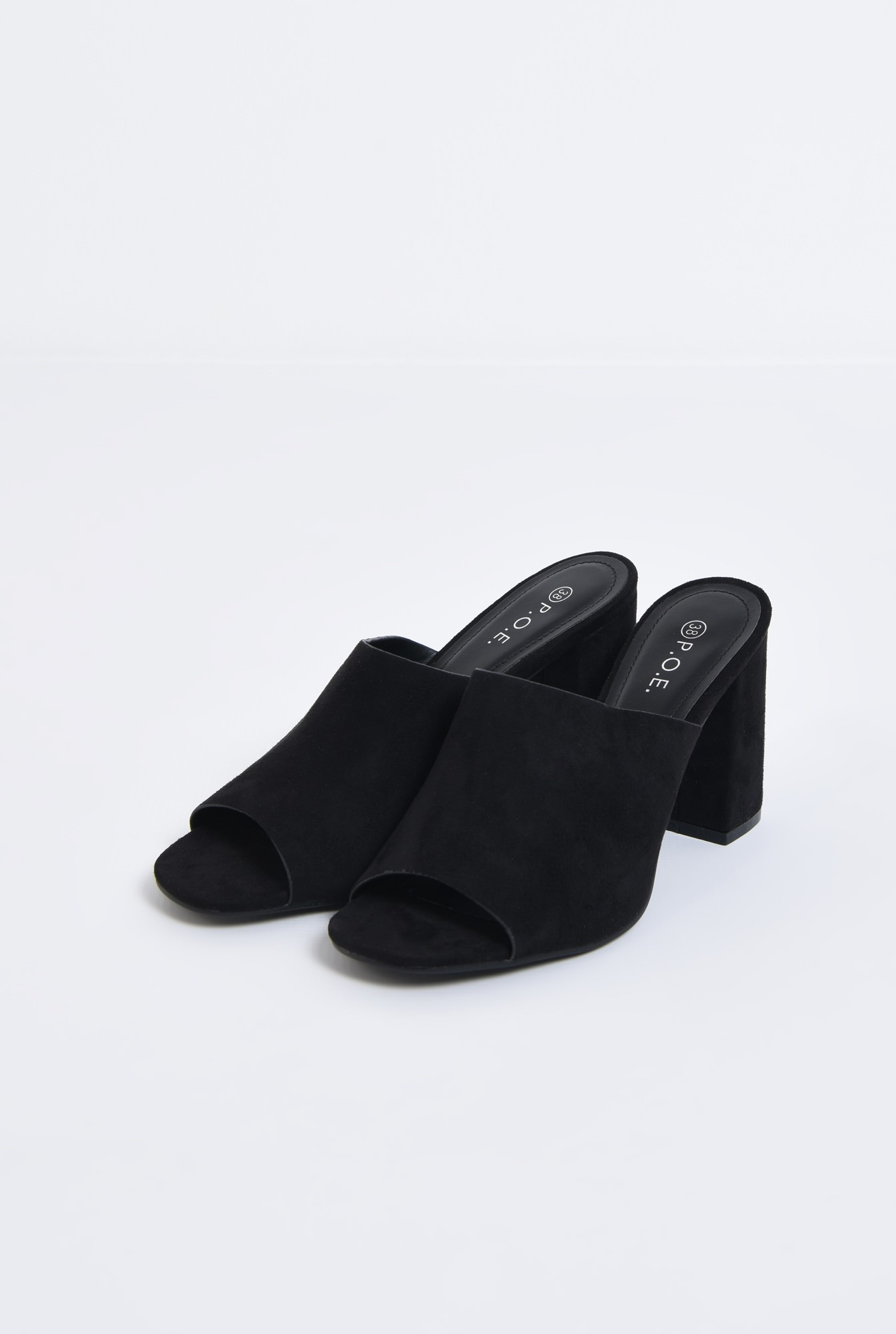 1 - saboti, negru, toc gros, varf decupat, sandale online
