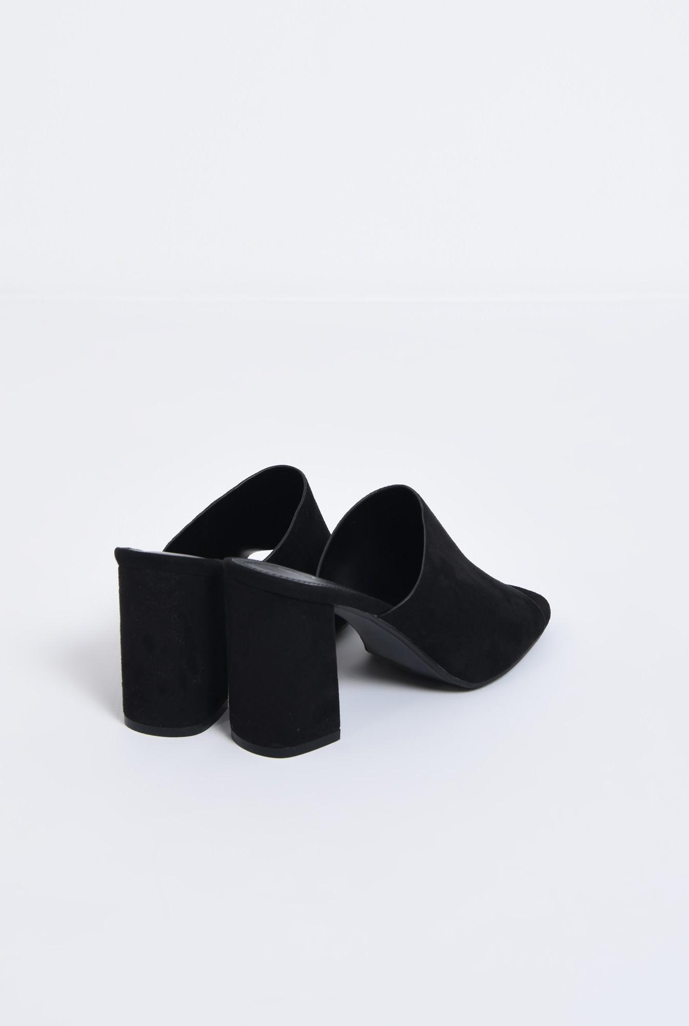 2 - saboti, negru, toc gros, varf decupat, sandale online