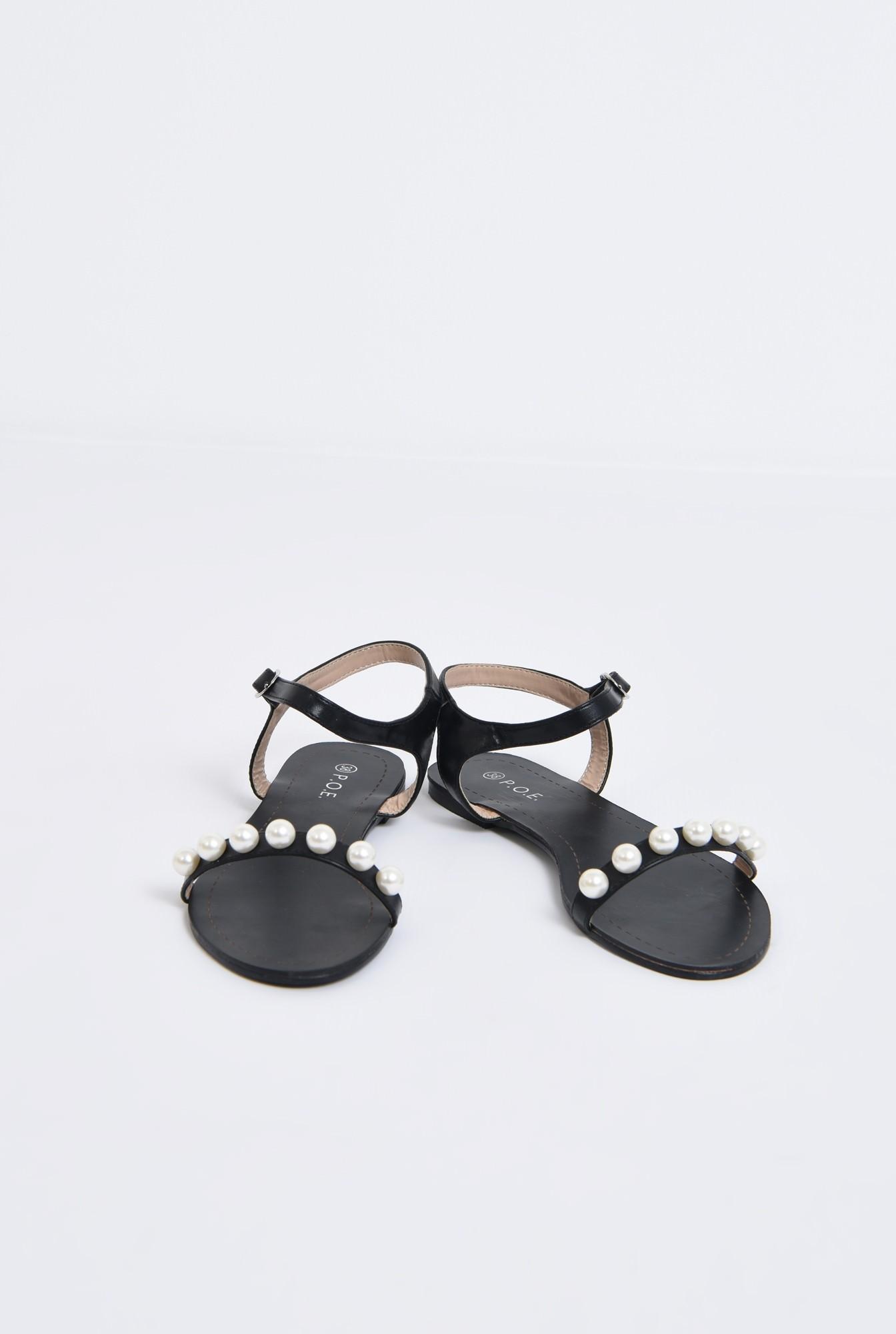 3 - sandale comode, negre, cu talpa joasa, bareta cu perle
