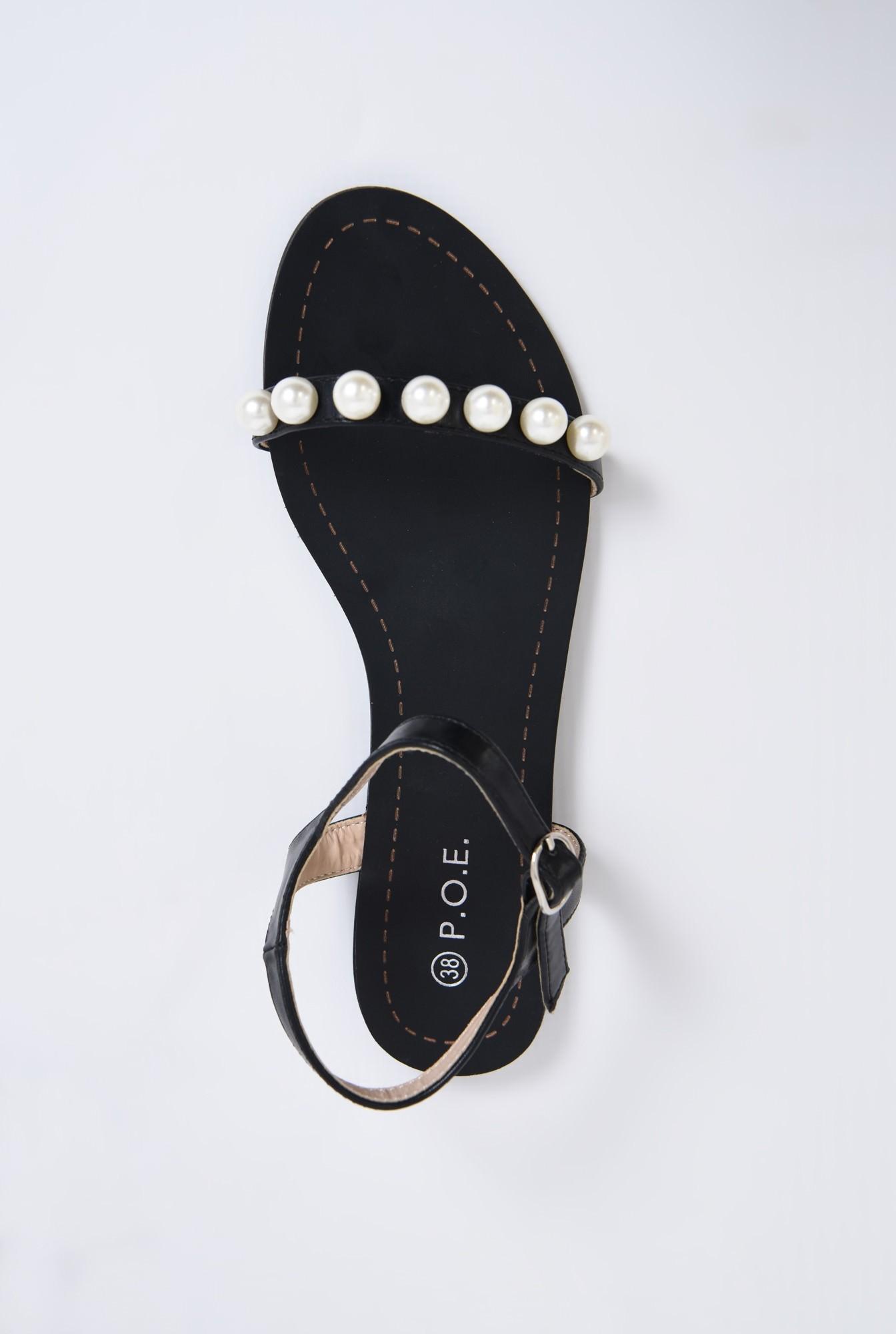 1 - sandale comode, negre, cu talpa joasa, bareta cu perle