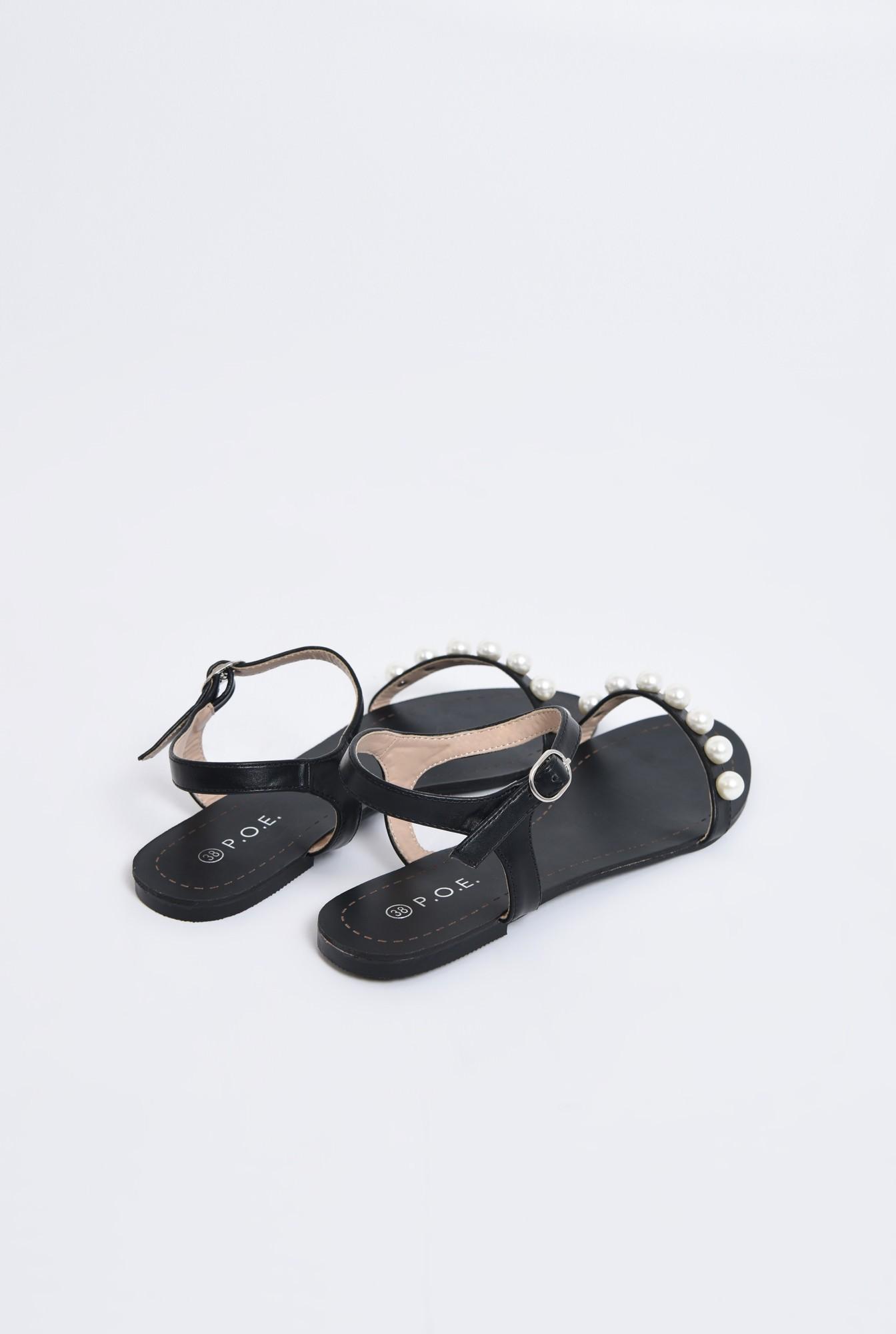 2 - sandale comode, negre, cu talpa joasa, bareta cu perle