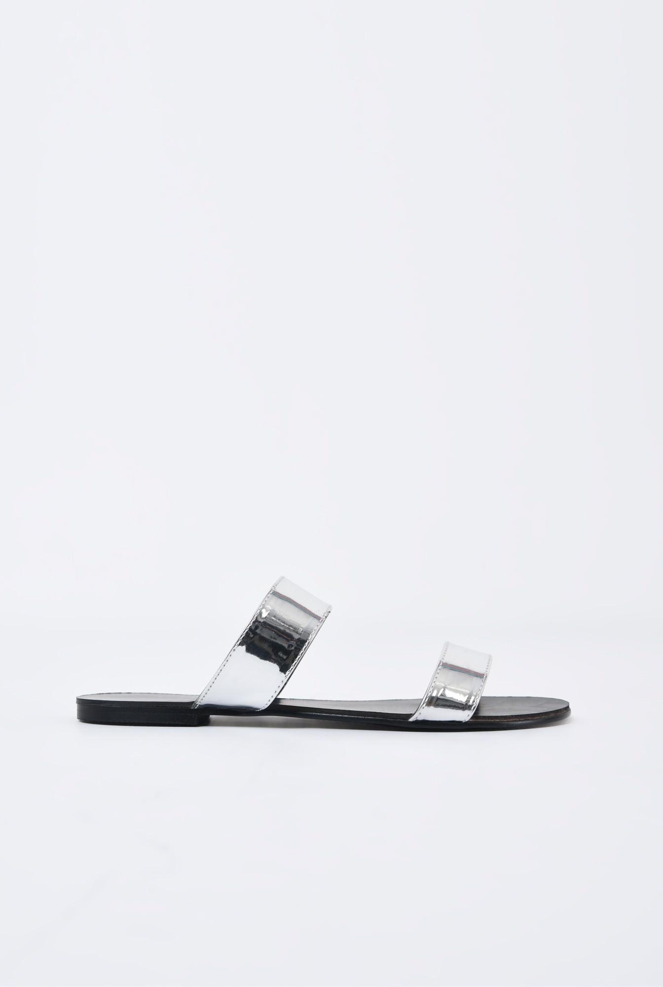 0 - papuci argintii, aspect metalic, cu talpa joasa