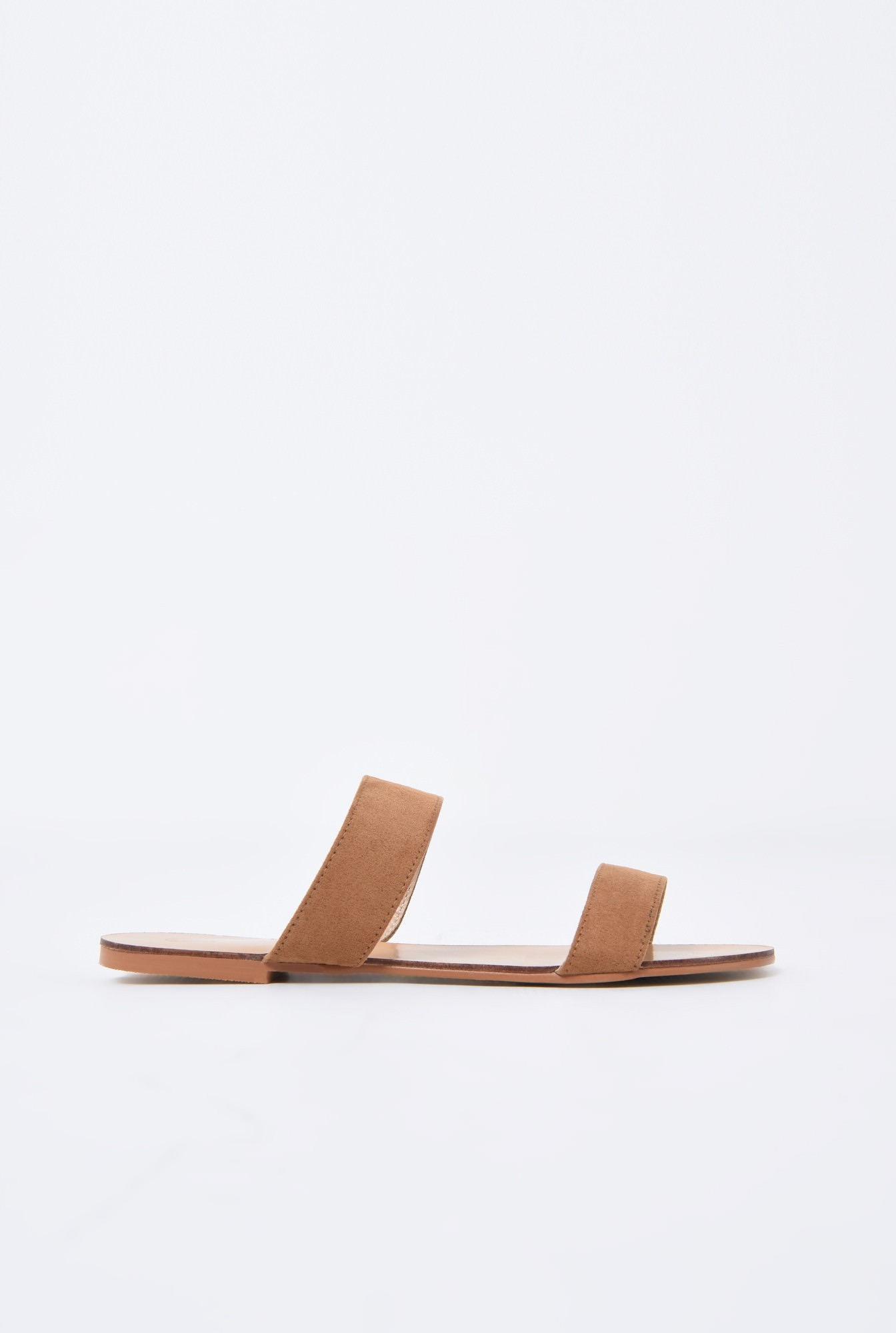 0 - papuci cu talpa joasa, velur, camel, barete late