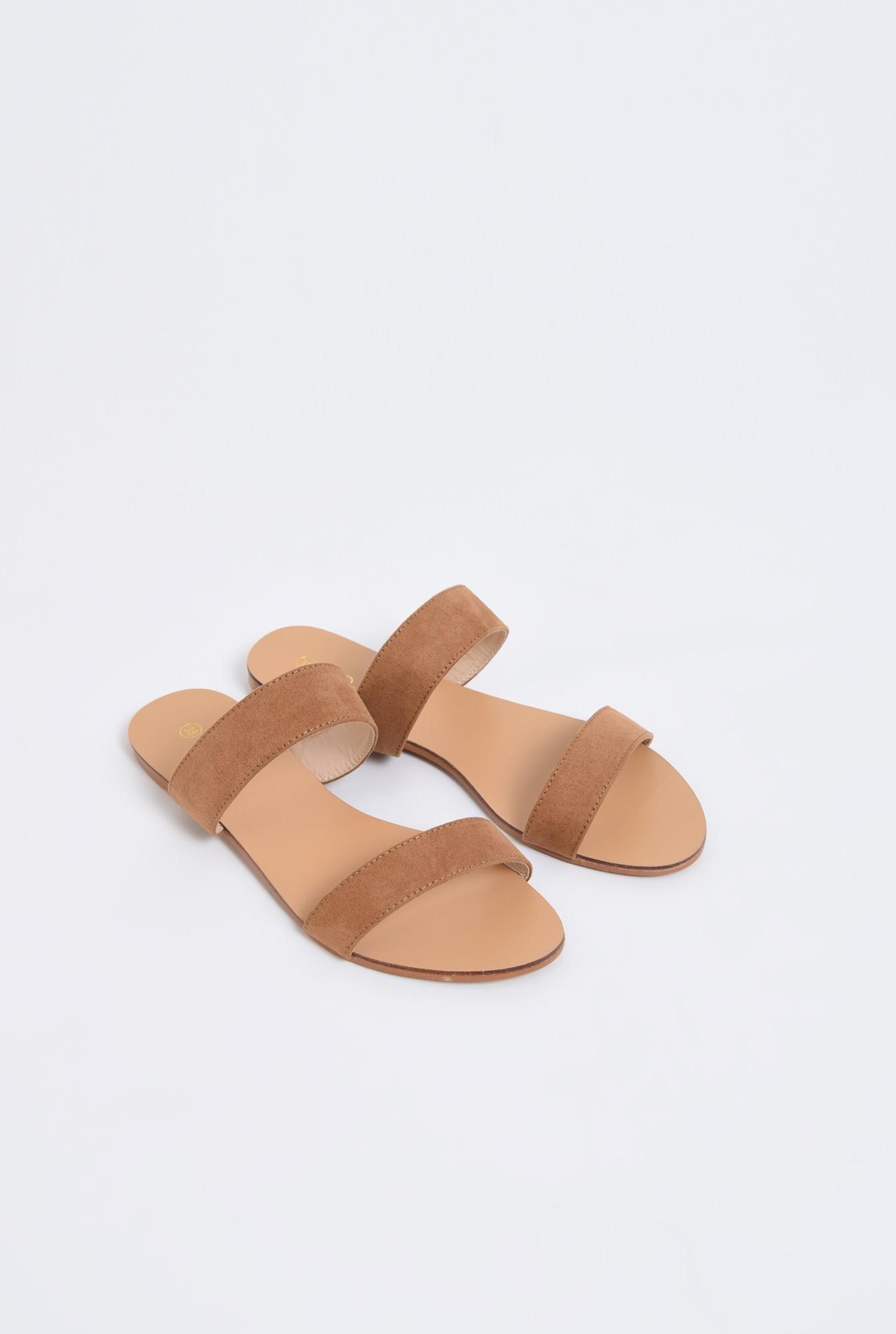 1 - papuci cu talpa joasa, velur, camel, barete late