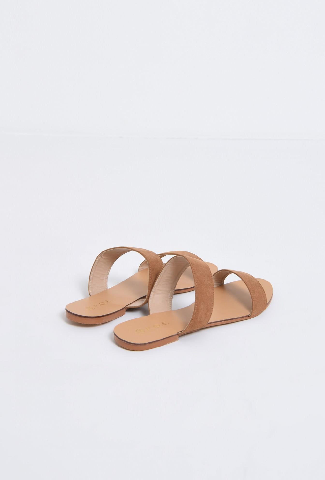 2 - papuci cu talpa joasa, velur, camel, barete late