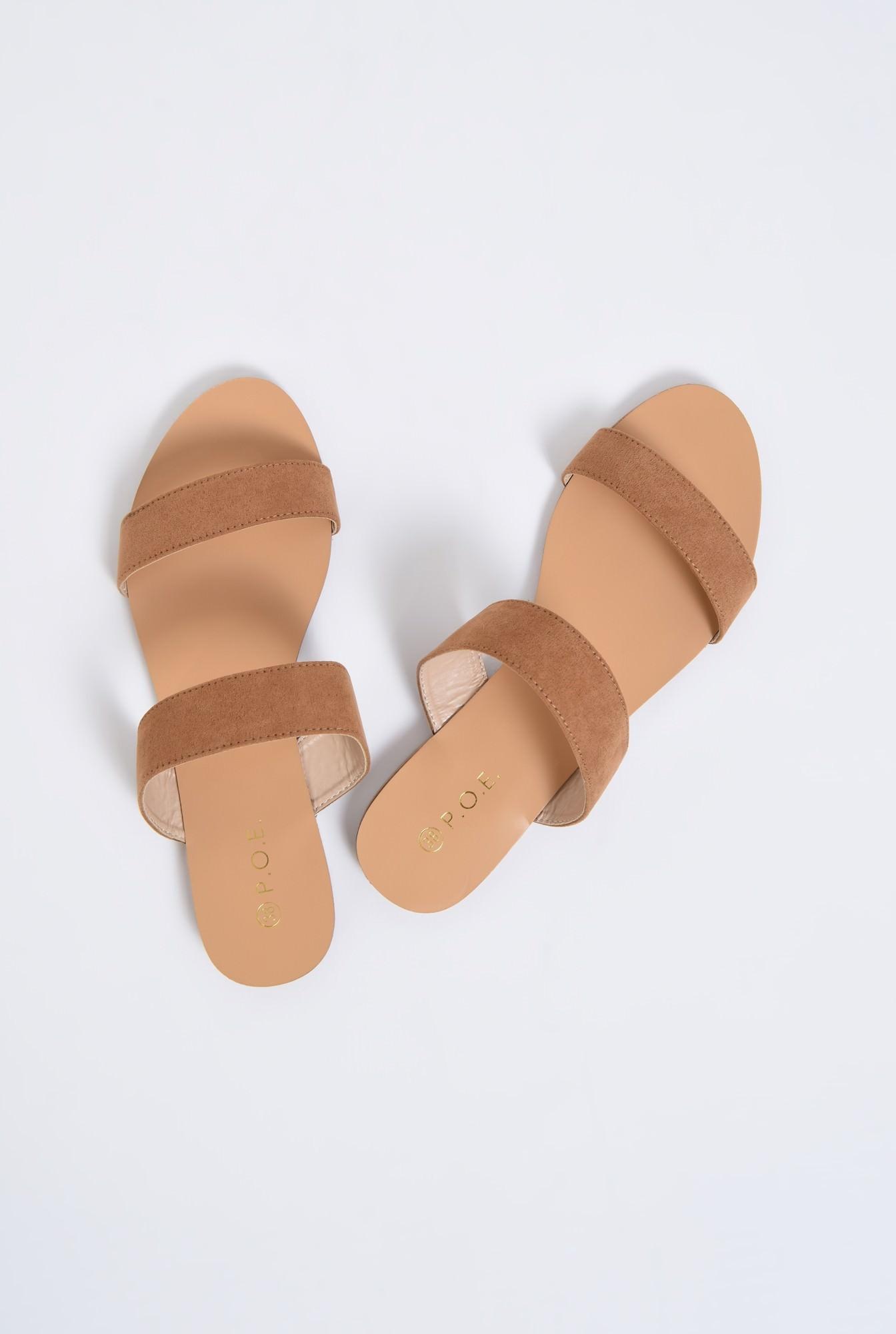 3 - papuci cu talpa joasa, velur, camel, barete late