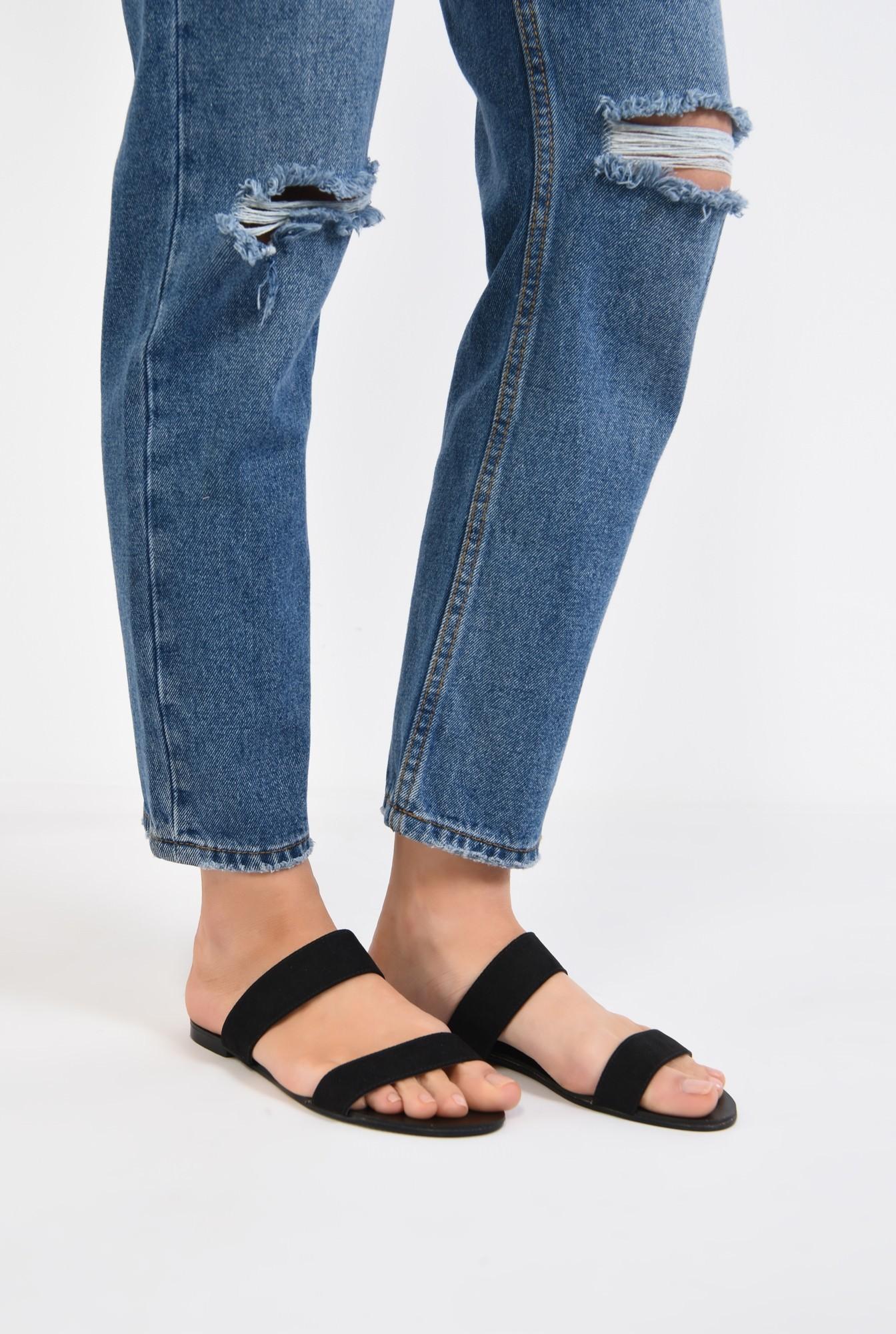 4 - papuci din velur, negru, talpa joasa, barete late