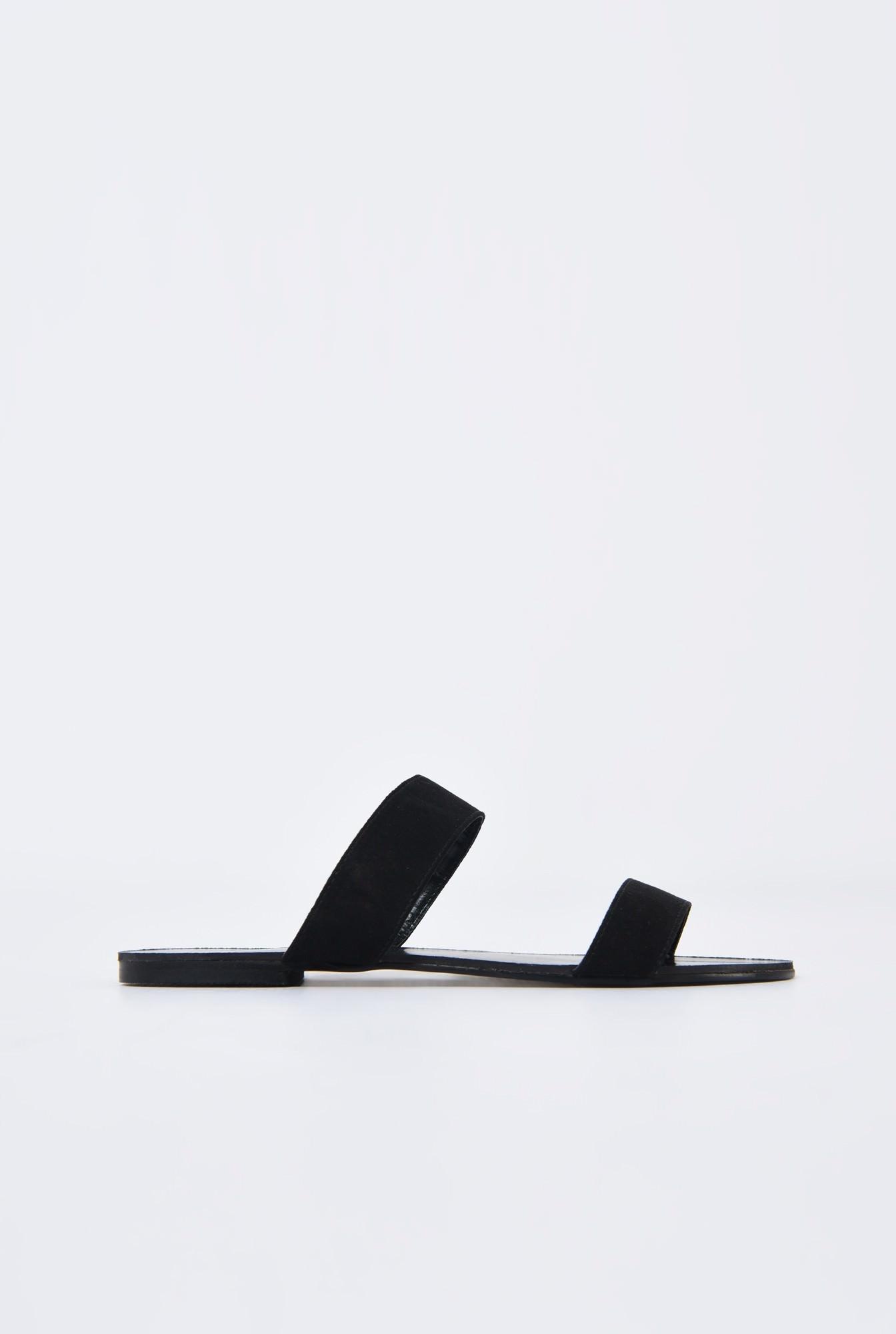 0 - papuci din velur, negru, talpa joasa, barete late