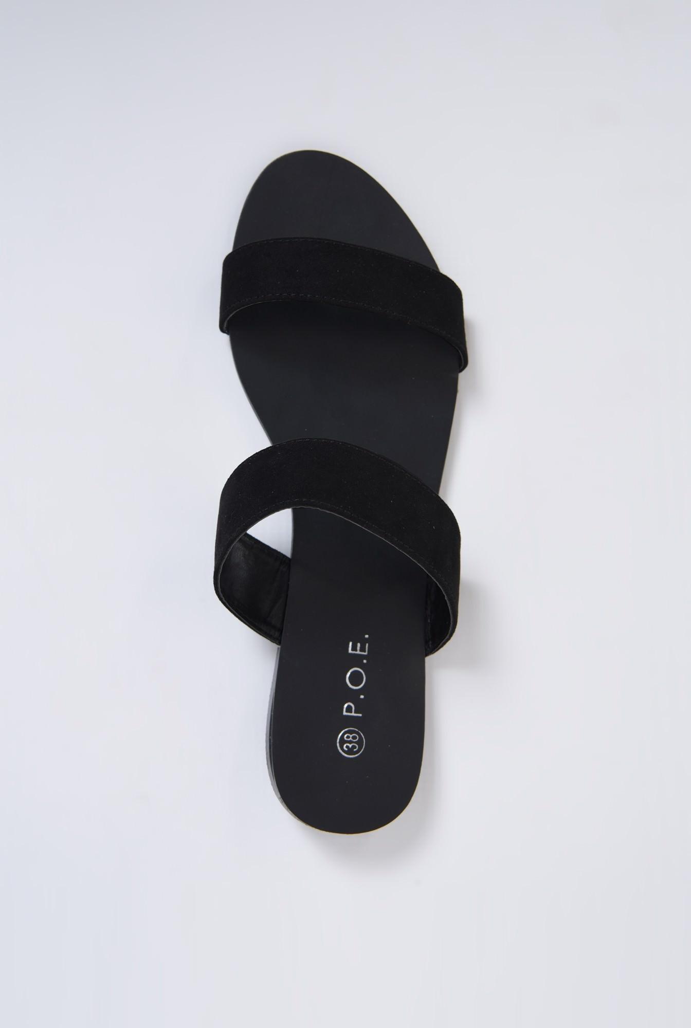 3 - papuci din velur, negru, talpa joasa, barete late