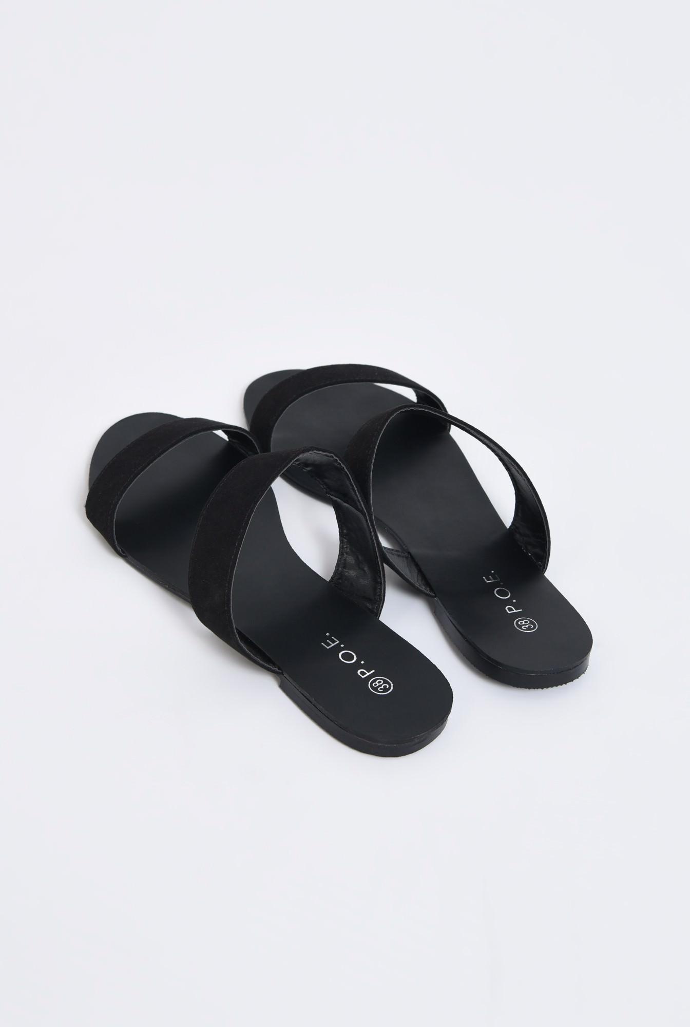 2 - papuci din velur, negru, talpa joasa, barete late