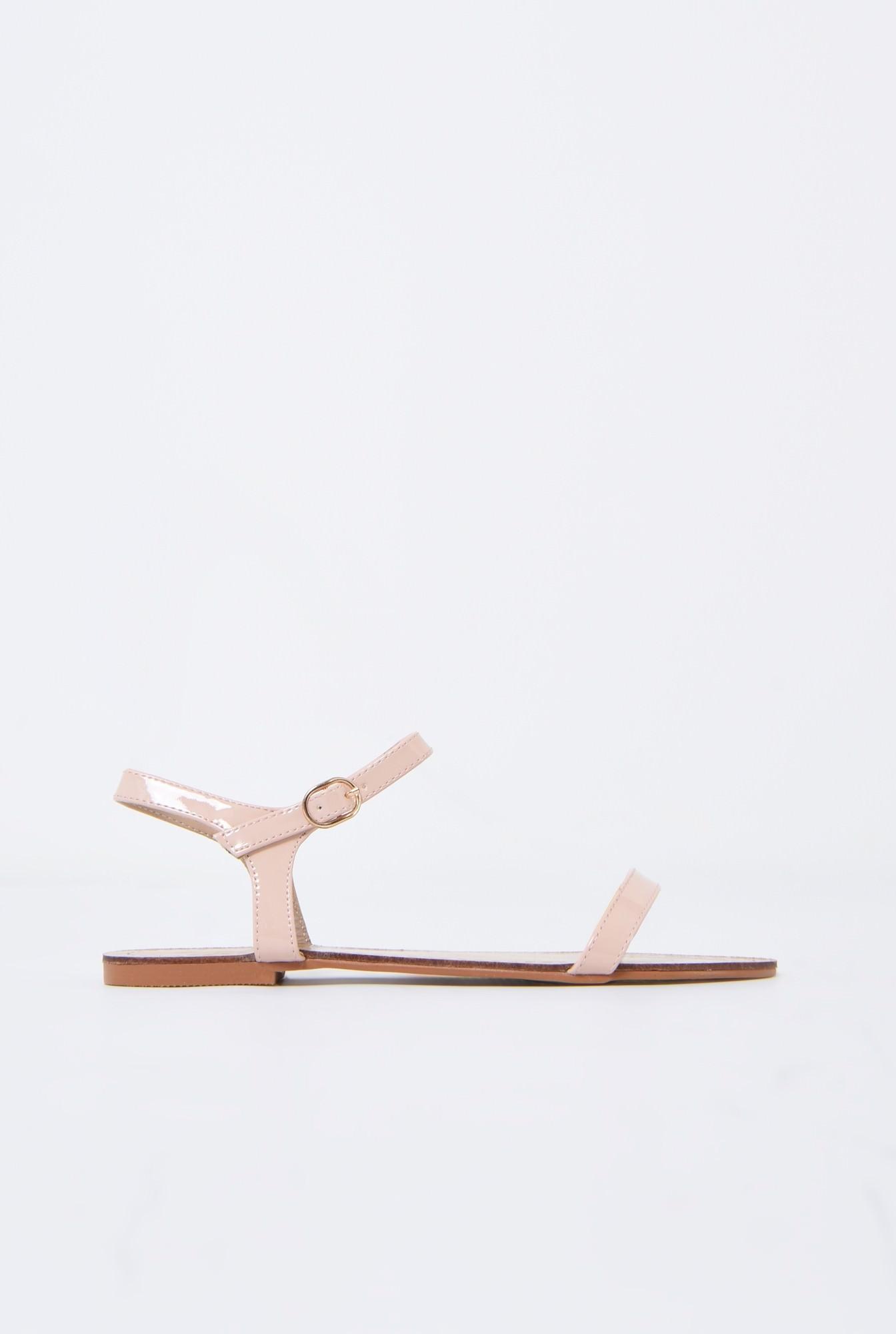0 - sandale din lac, crem, minimaliste, talpa joasa
