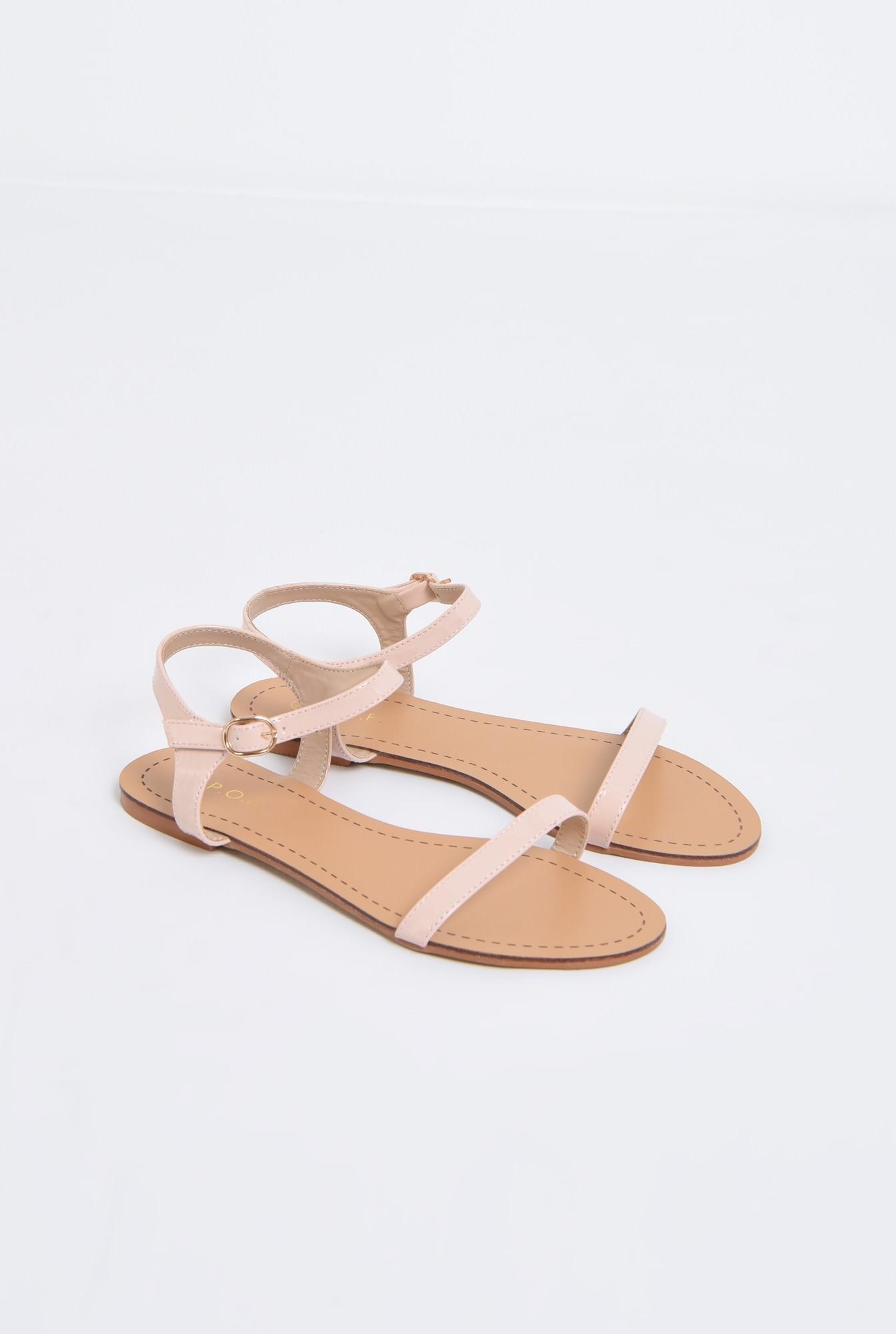 1 - sandale din lac, crem, minimaliste, talpa joasa