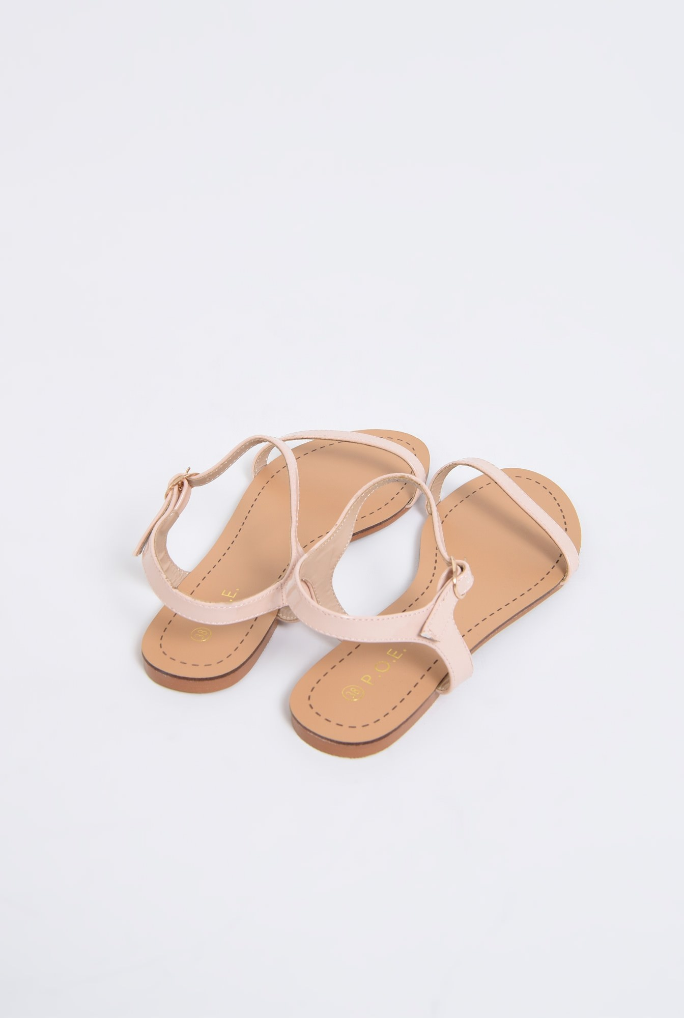 3 - sandale din lac, crem, minimaliste, talpa joasa