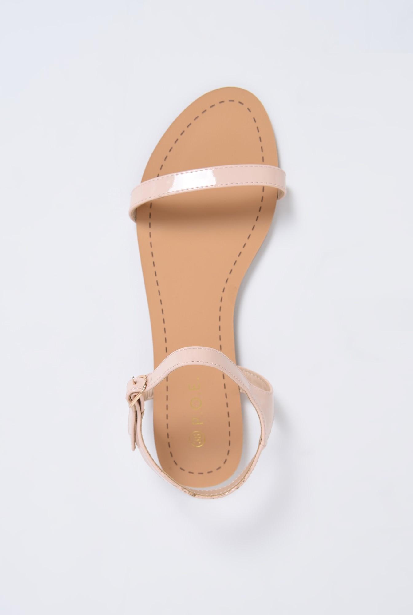 2 - sandale din lac, crem, minimaliste, talpa joasa