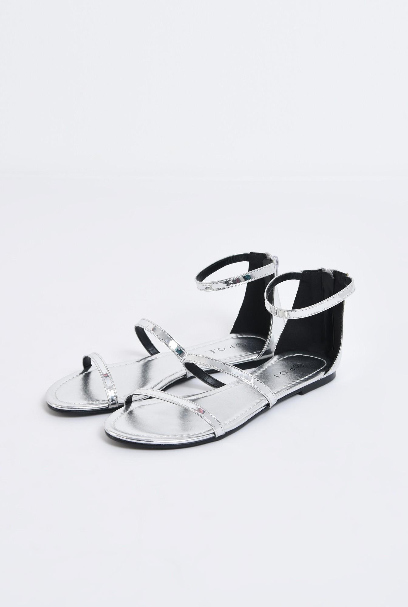 1 - sandale comode, fara toc, argintii, cu barete subtiri