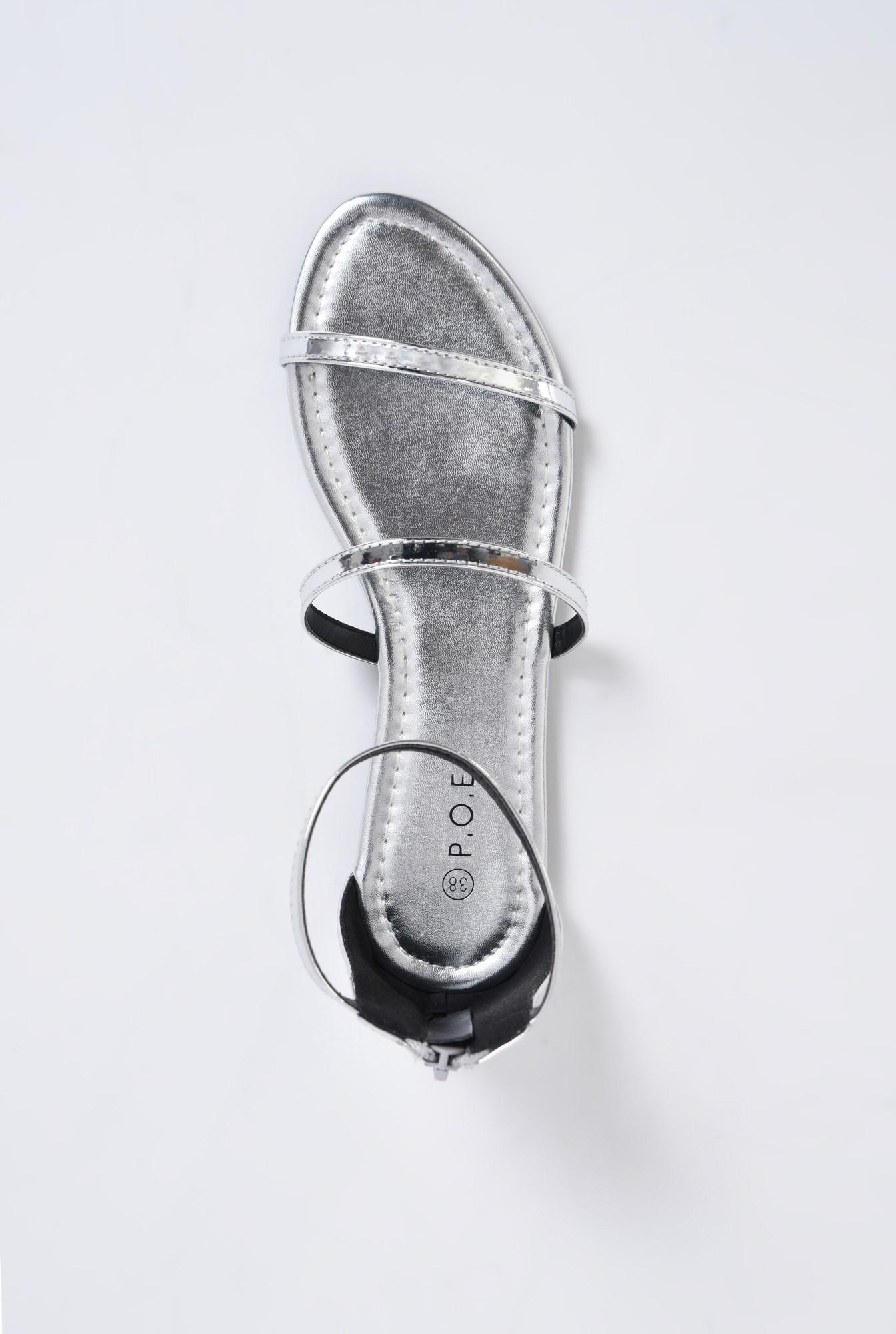 3 - sandale comode, fara toc, argintii, cu barete subtiri
