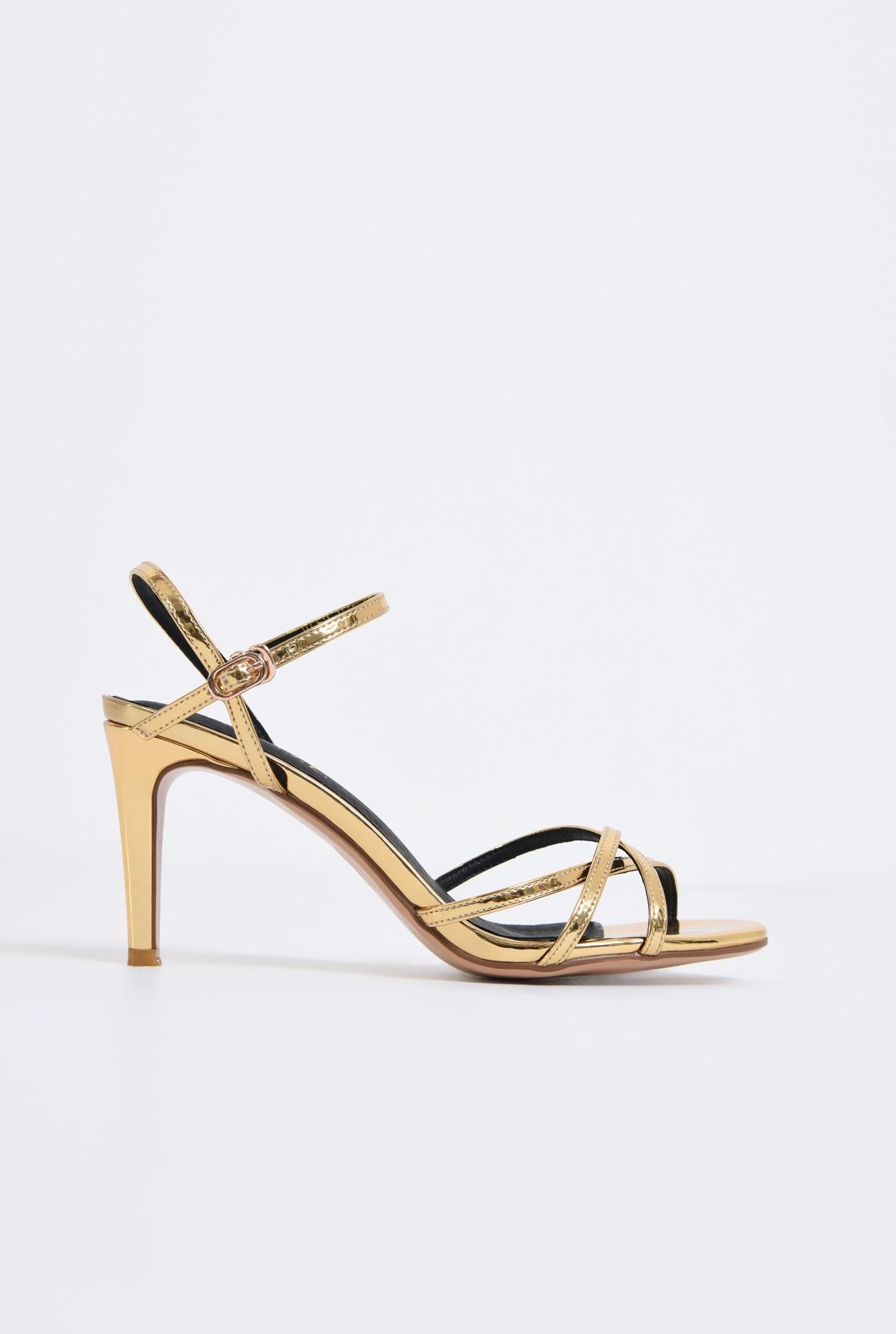 0 - sandale elegante, aurii, cu toc, aspect metalic