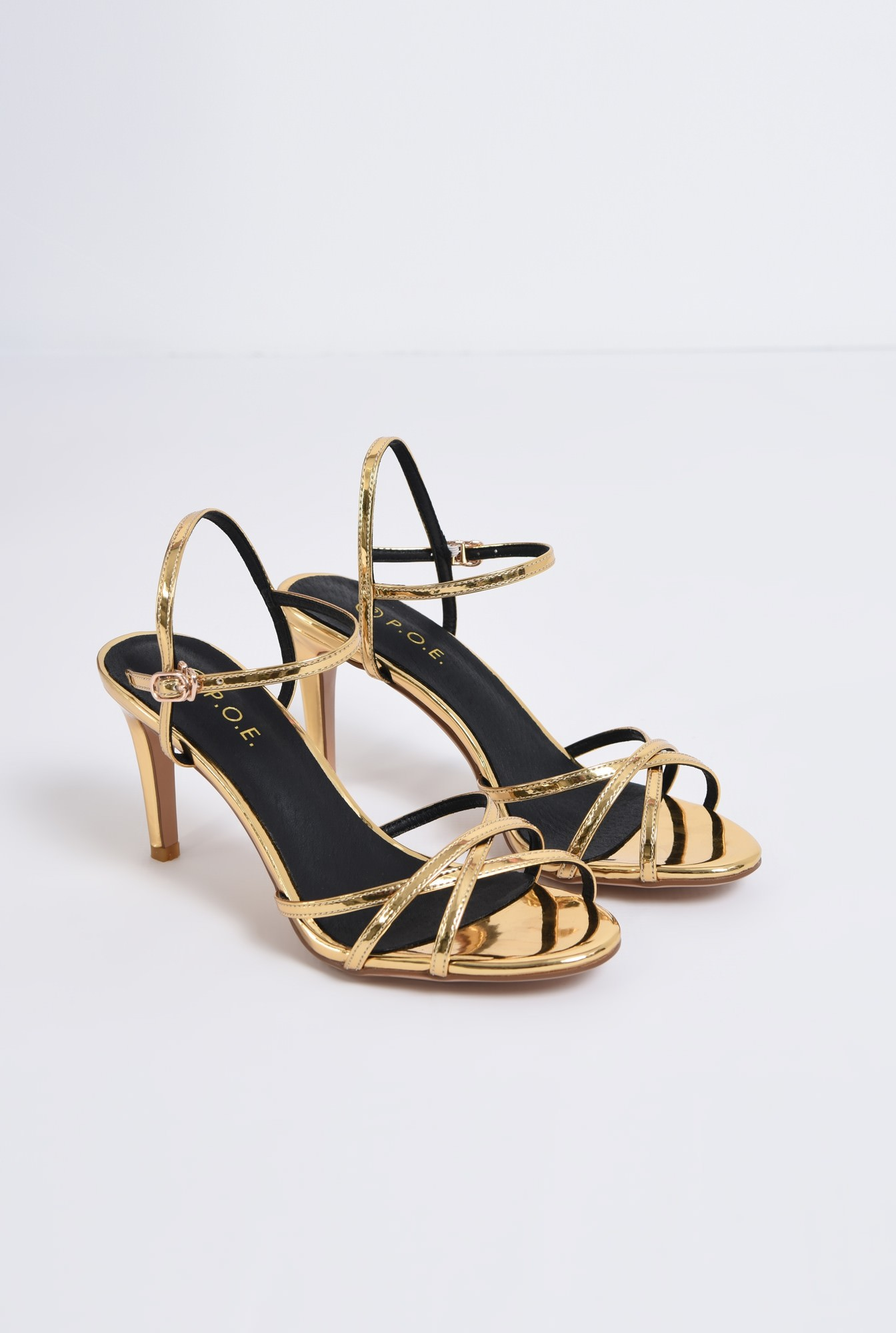 1 - sandale elegante, aurii, cu toc, aspect metalic