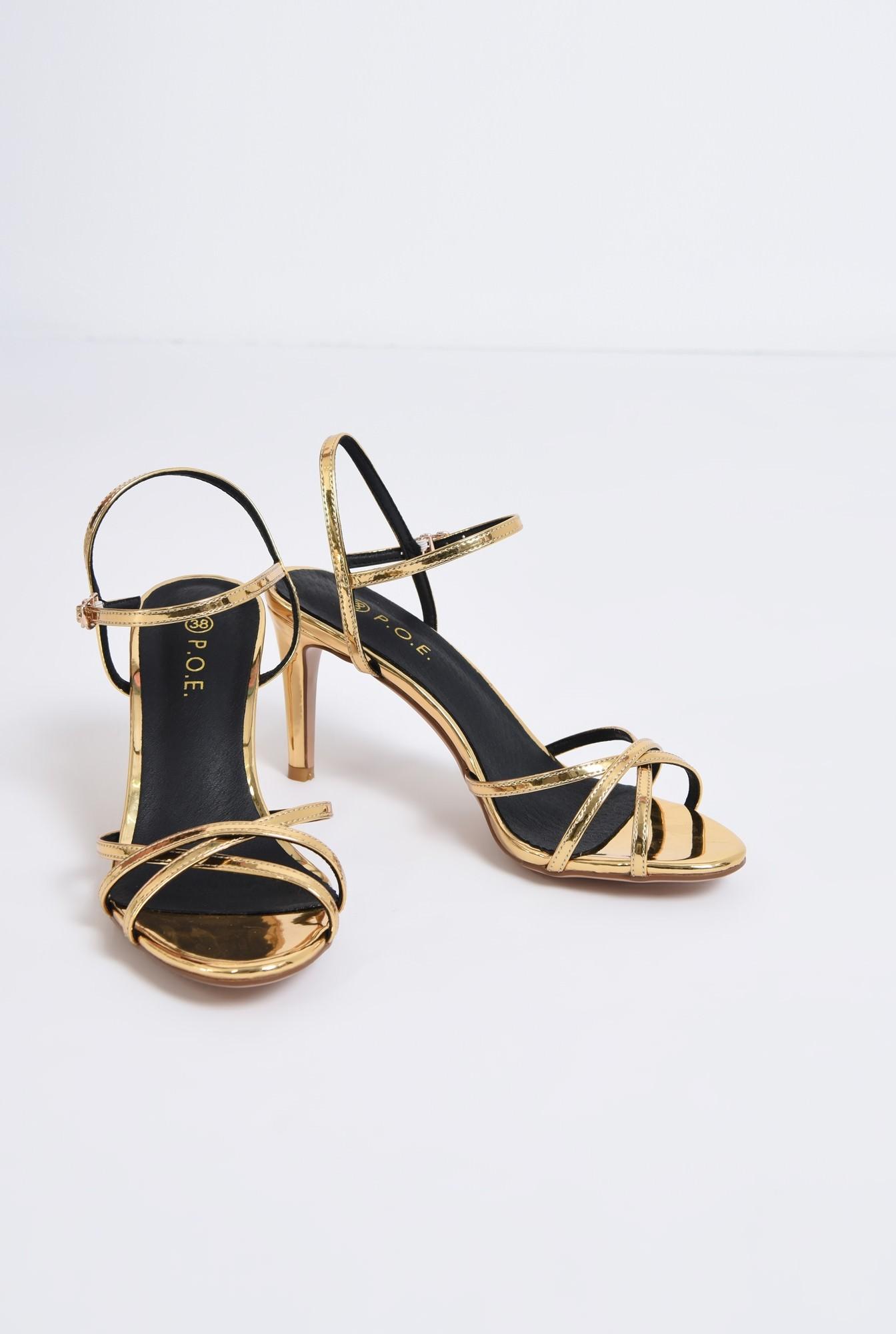 3 - sandale elegante, aurii, cu toc, aspect metalic