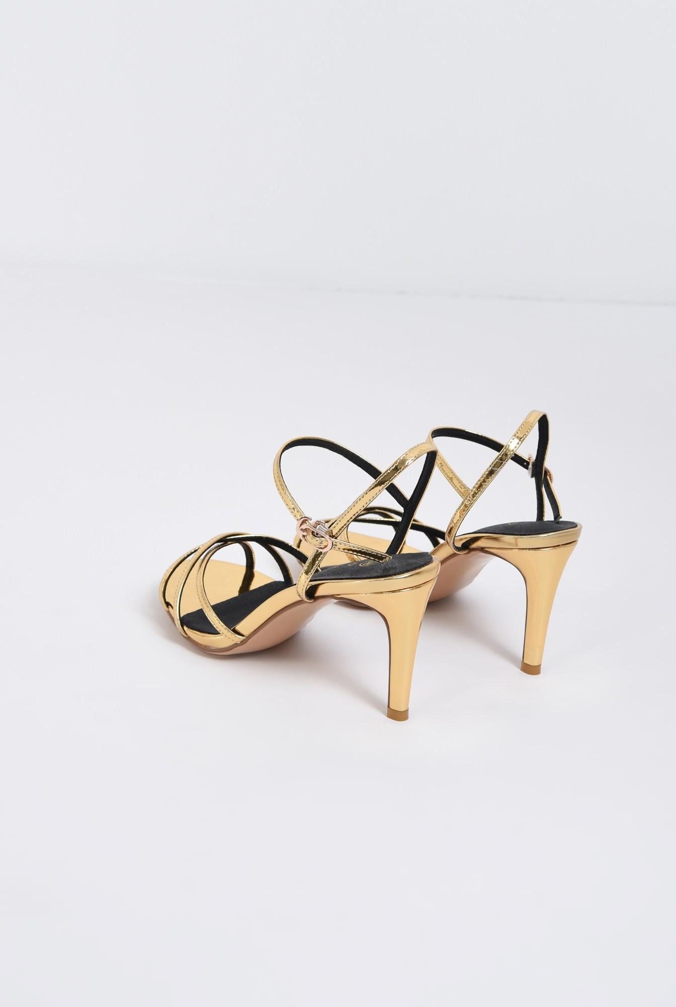 2 - sandale elegante, aurii, cu toc, aspect metalic