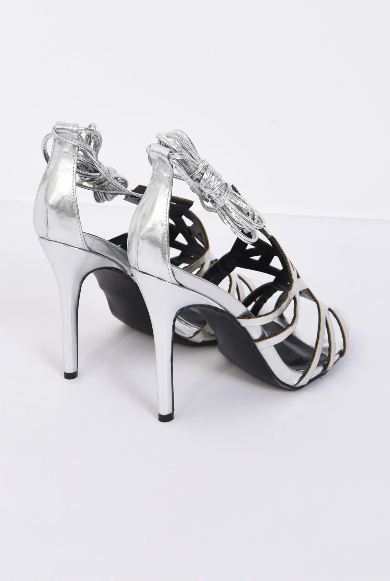 3 - sandale elegante, argintii, metalizate, stiletto