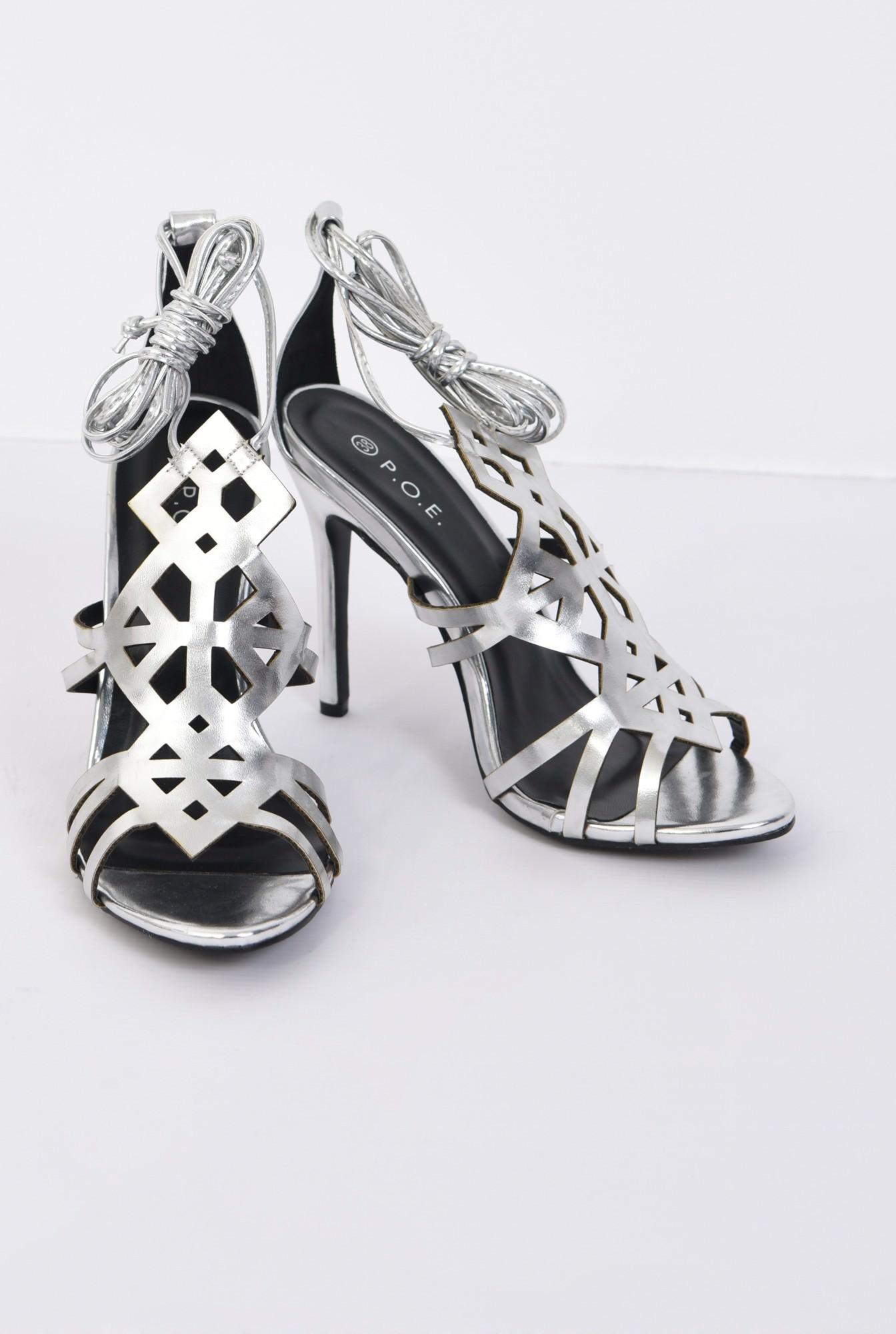 1 - sandale elegante, argintii, metalizate, stiletto