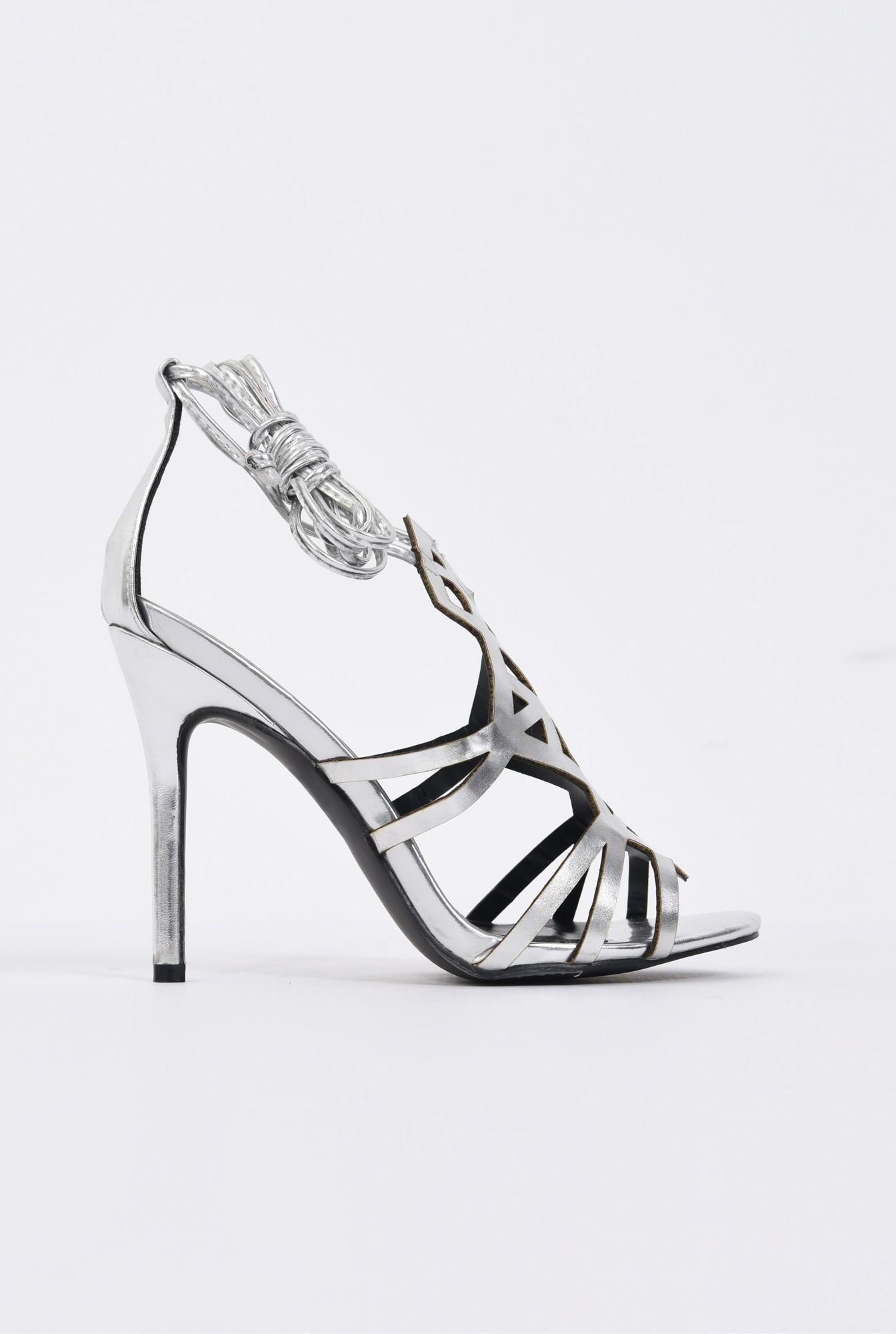 0 - sandale elegante, argintii, metalizate, stiletto