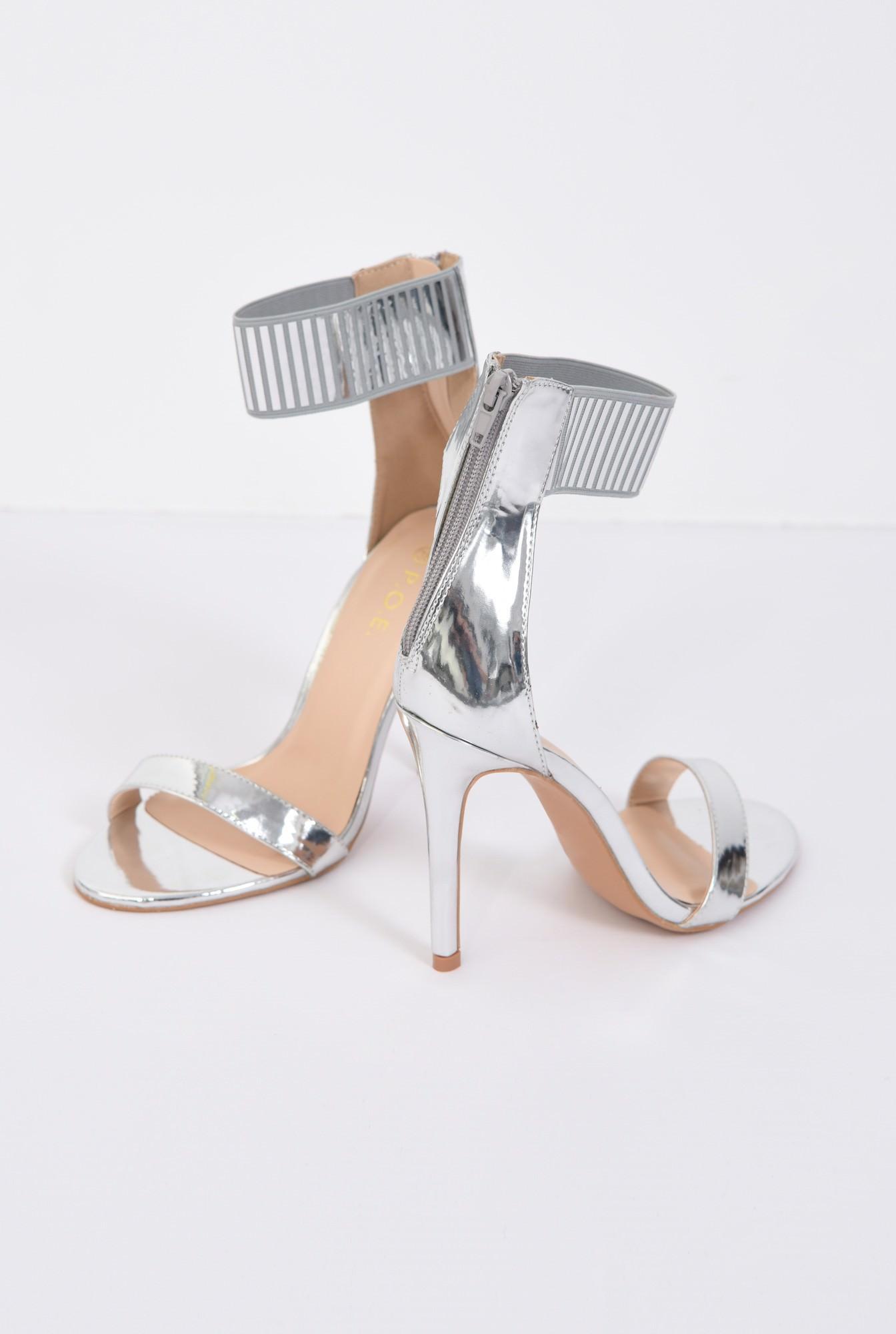 2 - sandale elegante, argintii, metalizate, stiletto