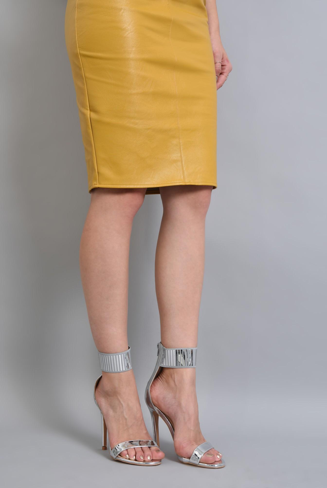 4 - sandale elegante, argintii, metalizate, stiletto