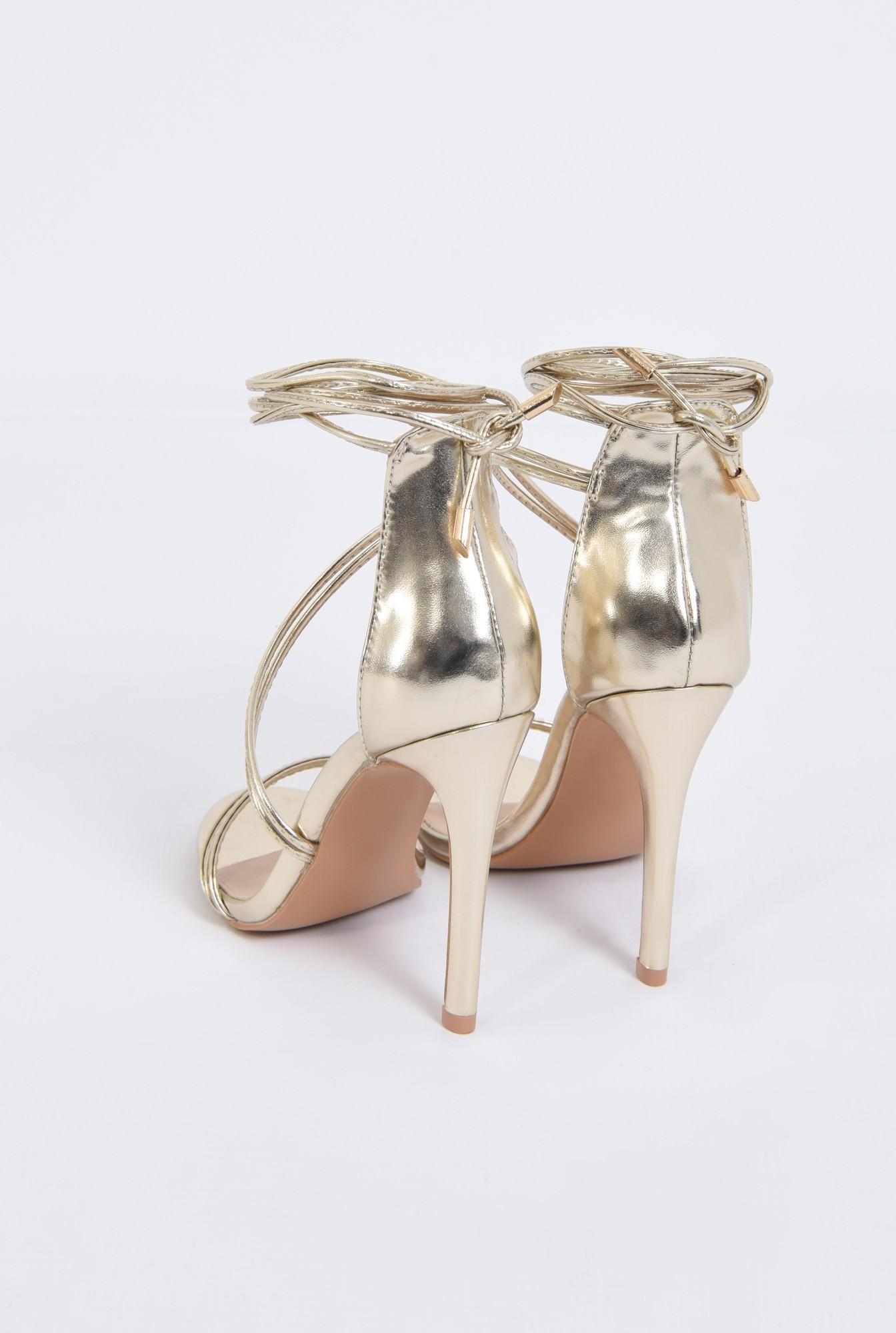 4 - sandale de seara, auriu, metalizat, barete